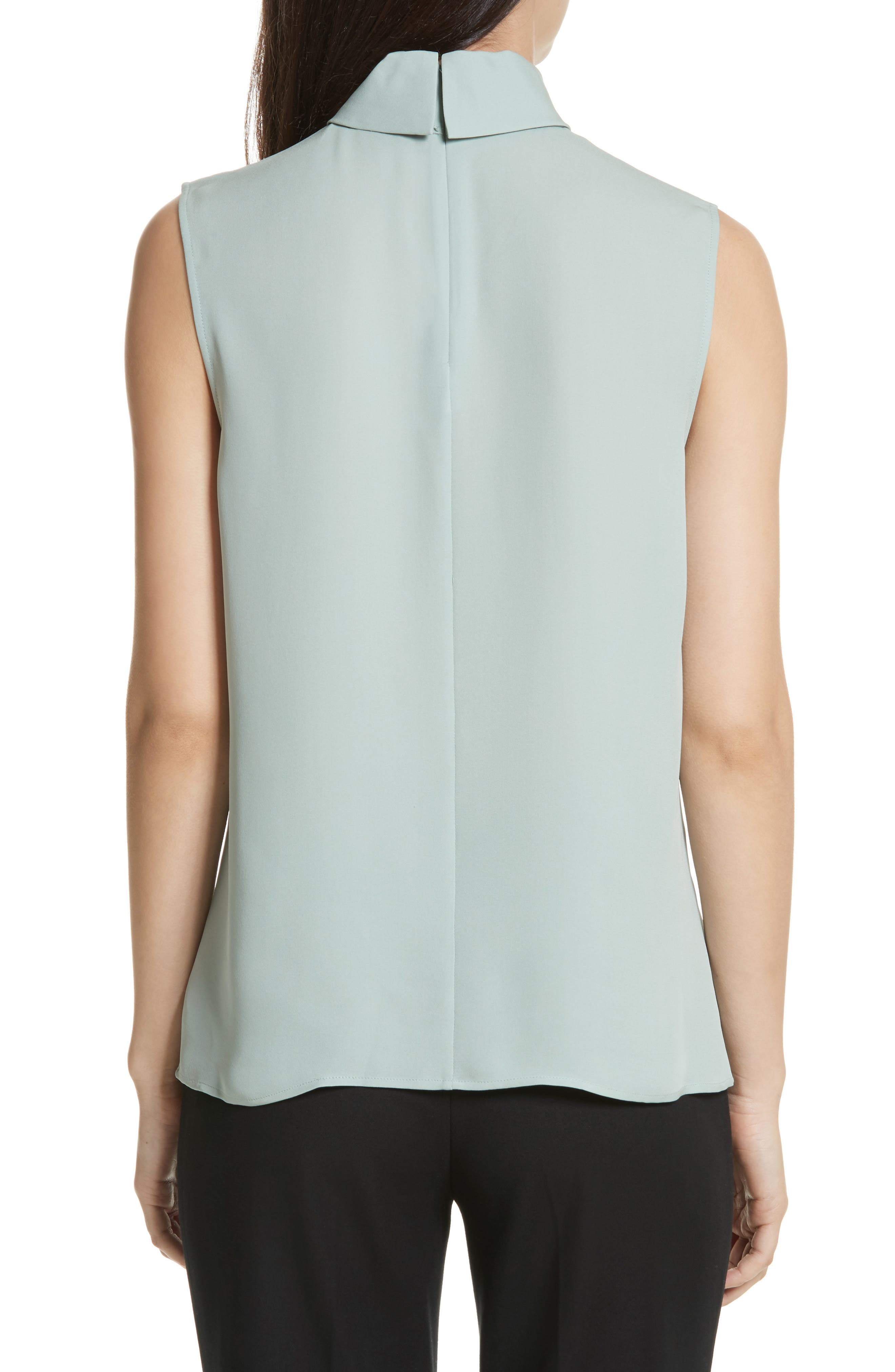 Classic Slit Collar Silk Top,                             Alternate thumbnail 2, color,                             Winter Green