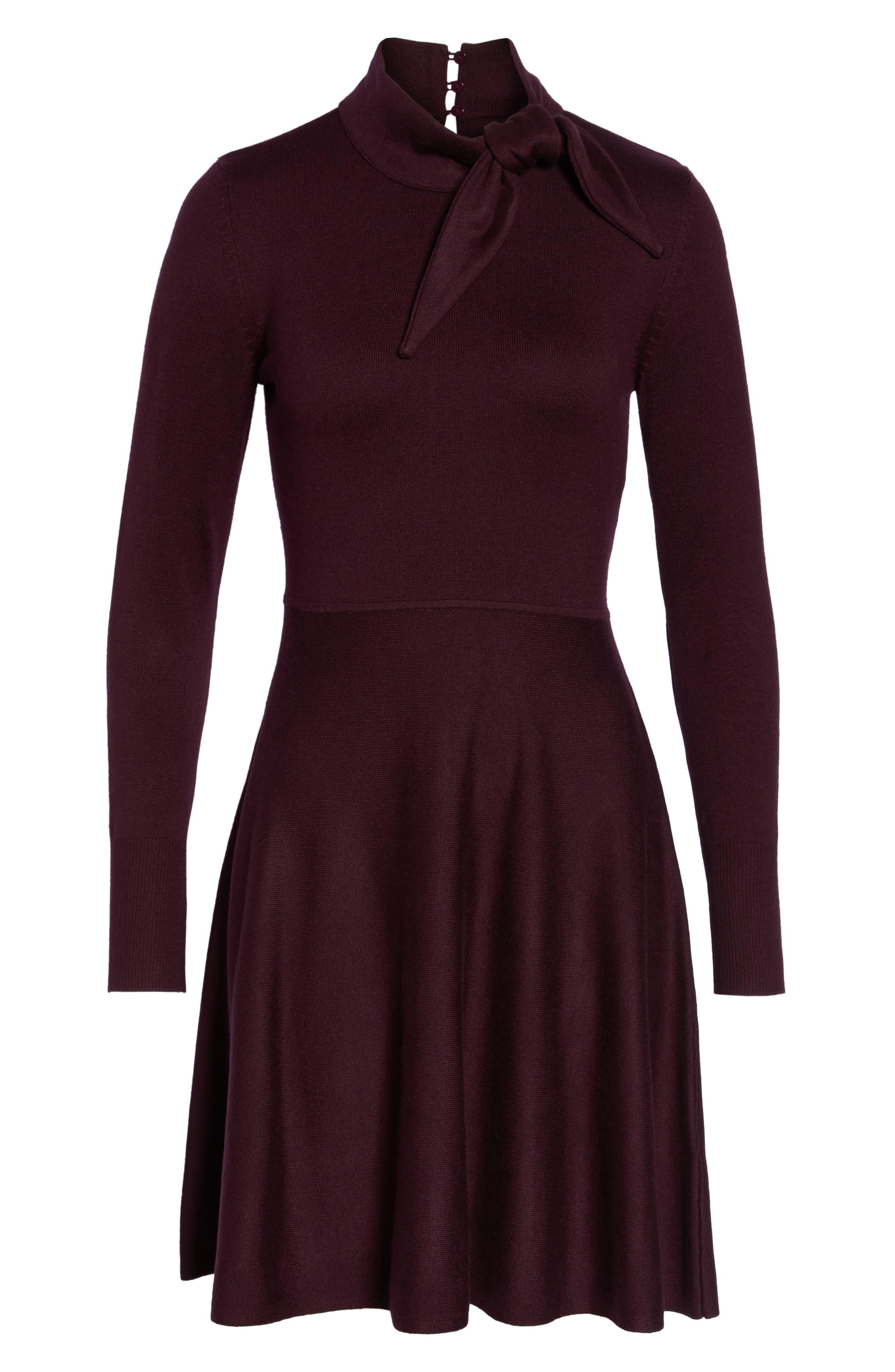 Alternate Image 6  - Eliza J Tie Neck Fit & Flare Dress (Regular & Petite)