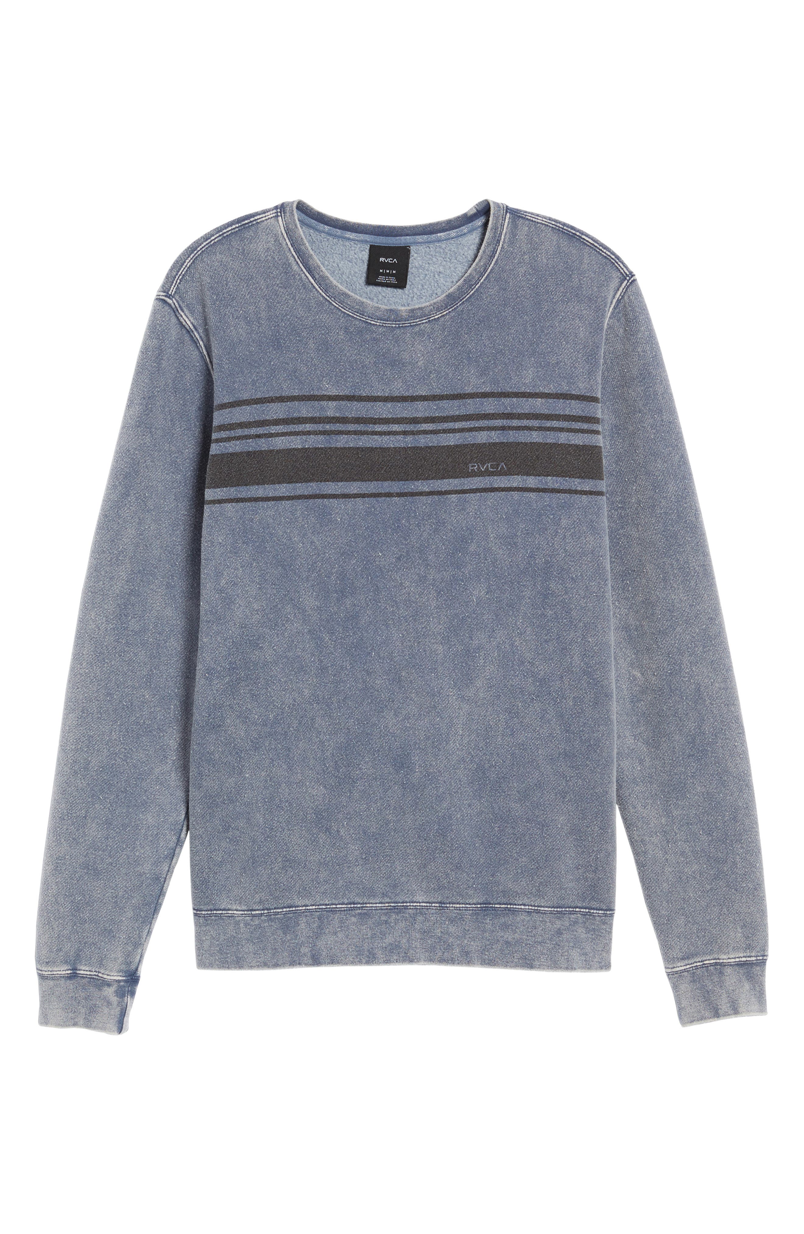 Alternate Image 6  - RVCA Stripe Crewneck Sweatshirt