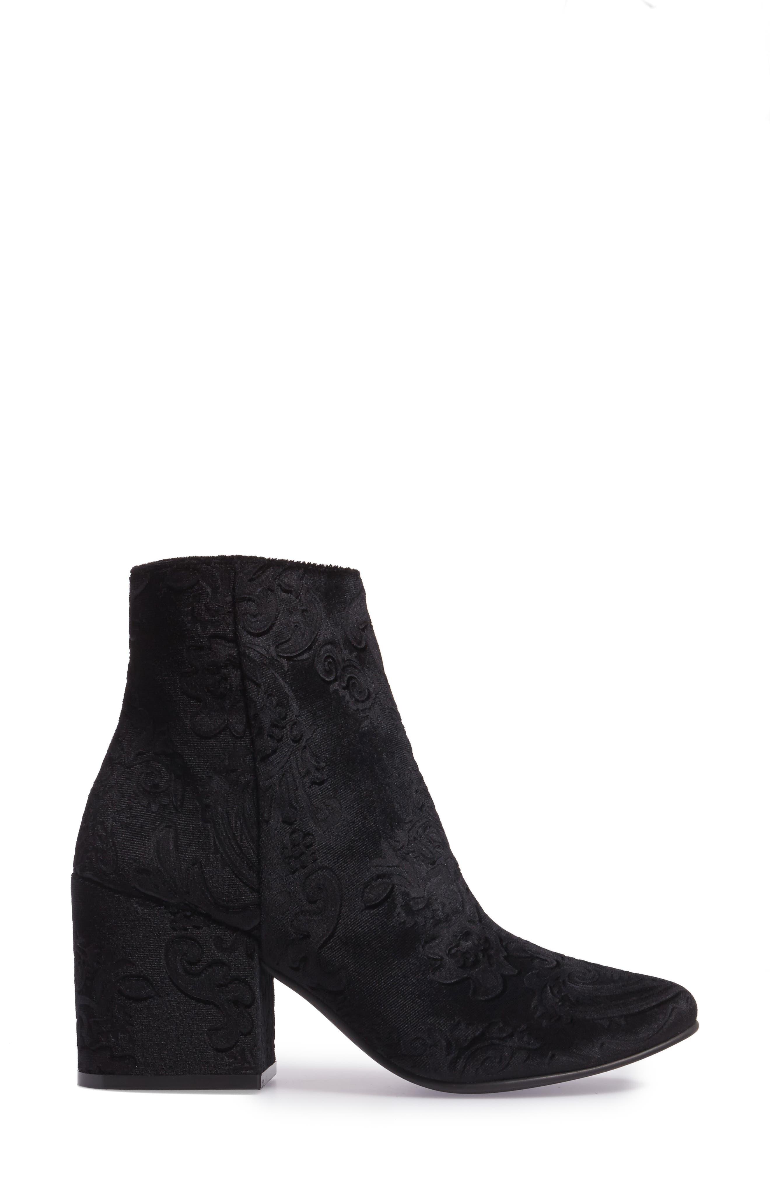 Marian Block Heel Bootie,                             Alternate thumbnail 3, color,                             Black Embossed Velvet