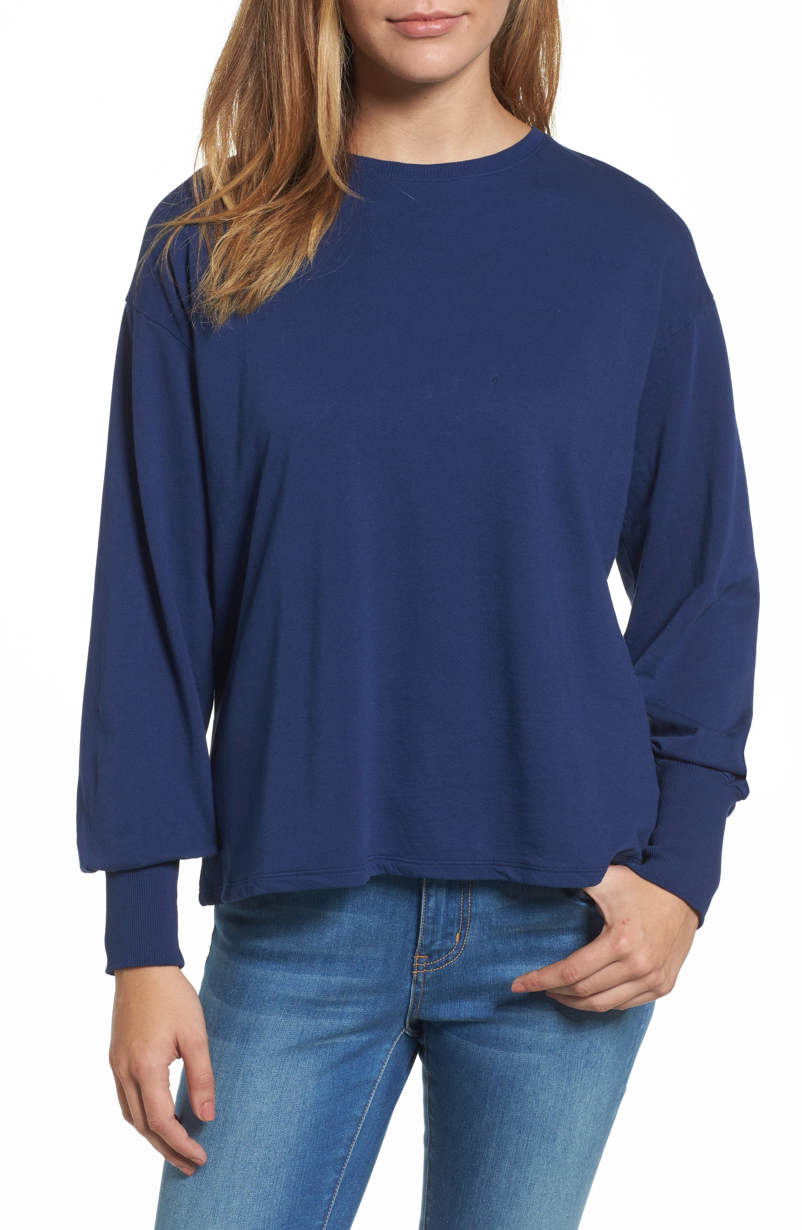 Caslon® Lace-Up Back Sweatshirt