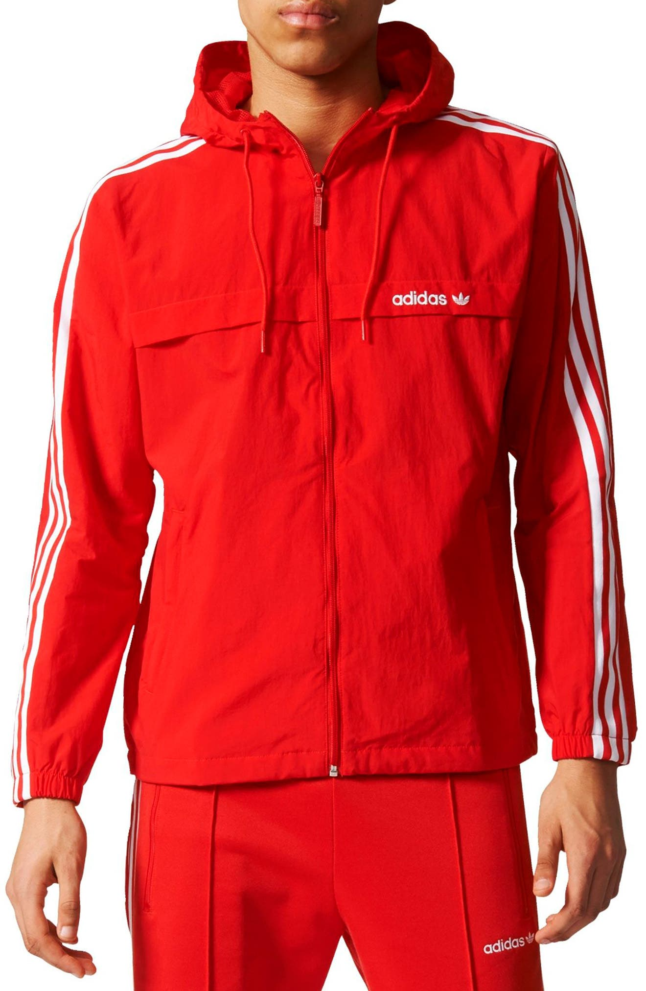3-Stripe Hooded Windbreaker,                             Main thumbnail 1, color,                             Vivid Red