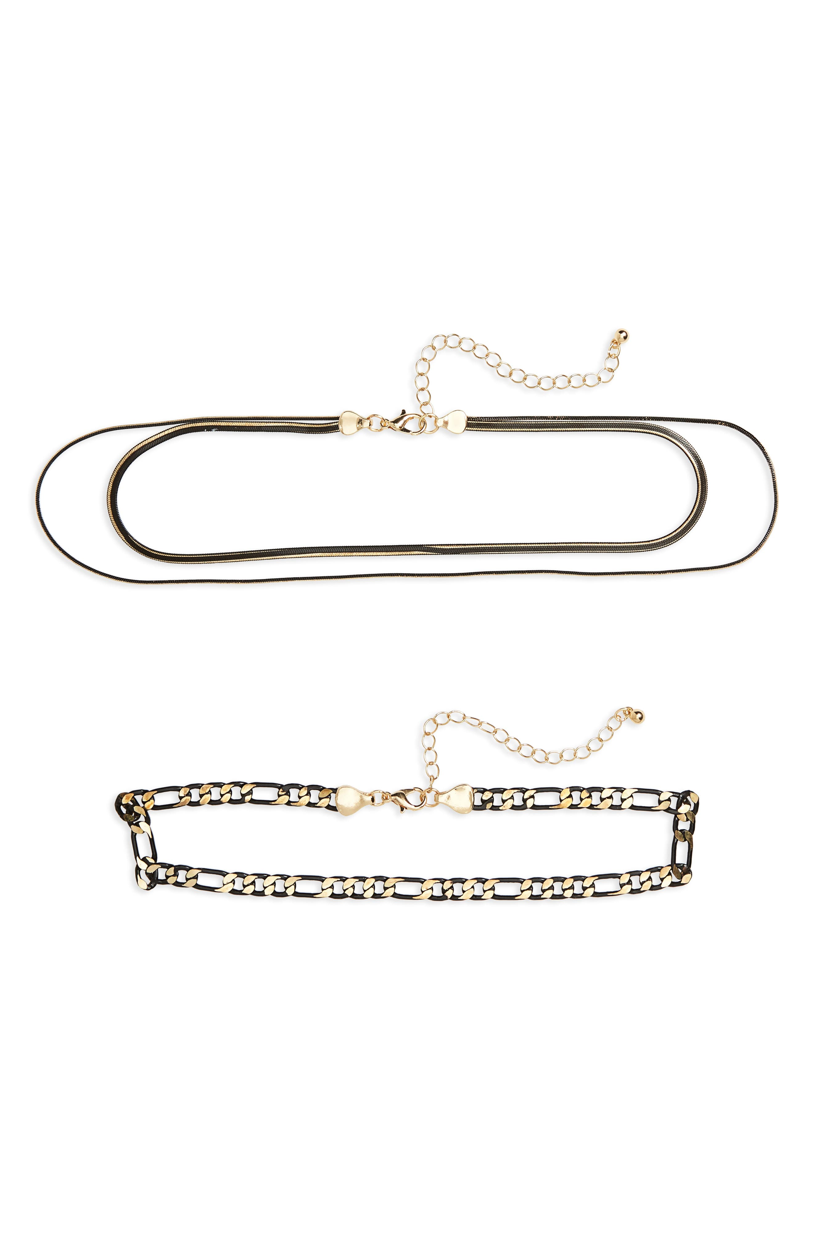 2-Pack Chain Chokers,                         Main,                         color, Black/ Gold