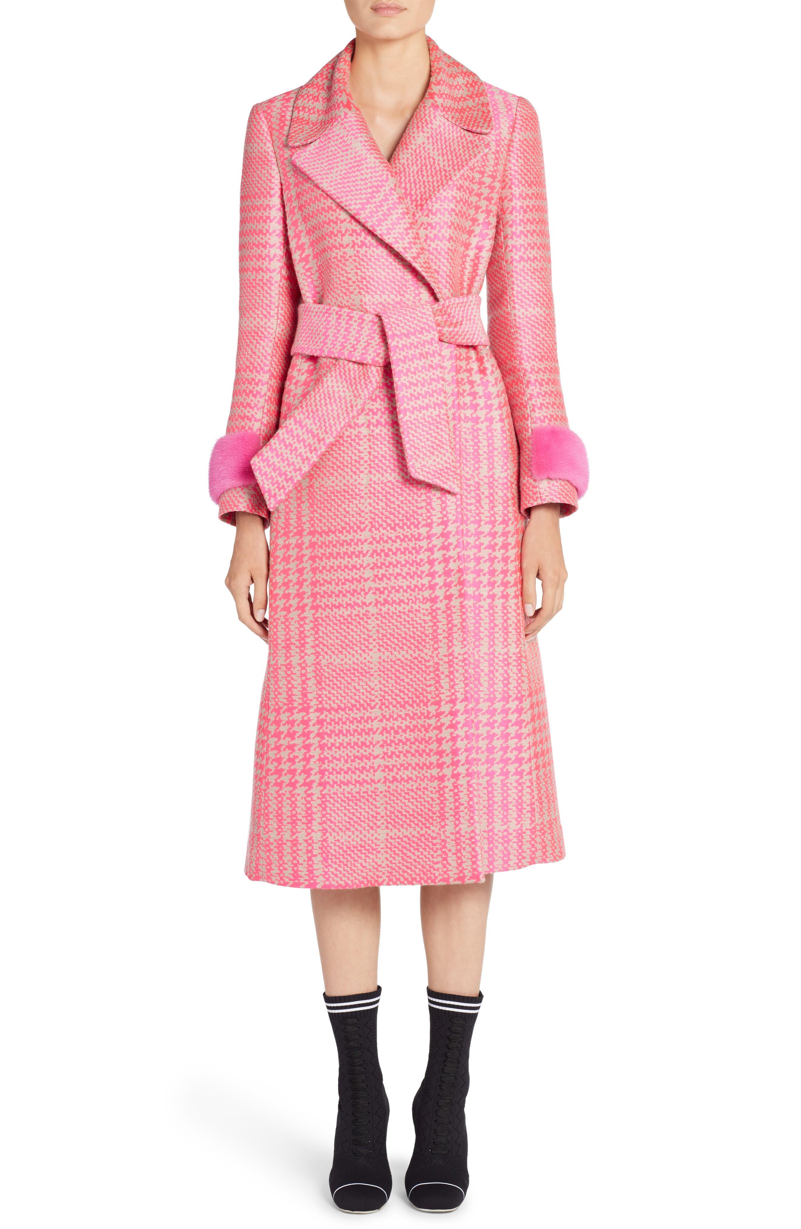 Pop Genuine Mink Fur Trim Prince of Wales Check Coat,                         Main,                         color, Glamour Pink