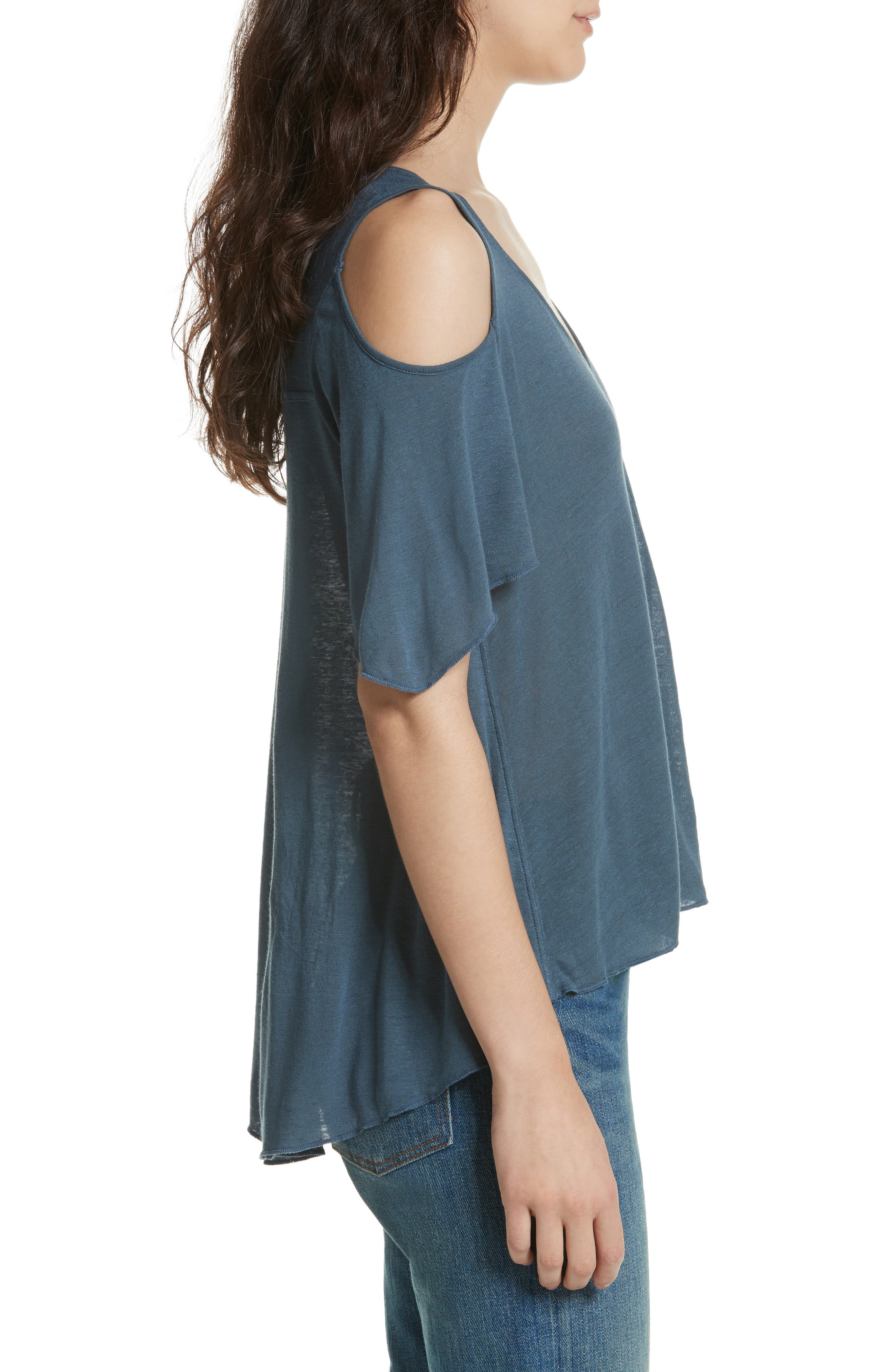 Bittersweet Cold Shoulder Top,                             Alternate thumbnail 3, color,                             Blue