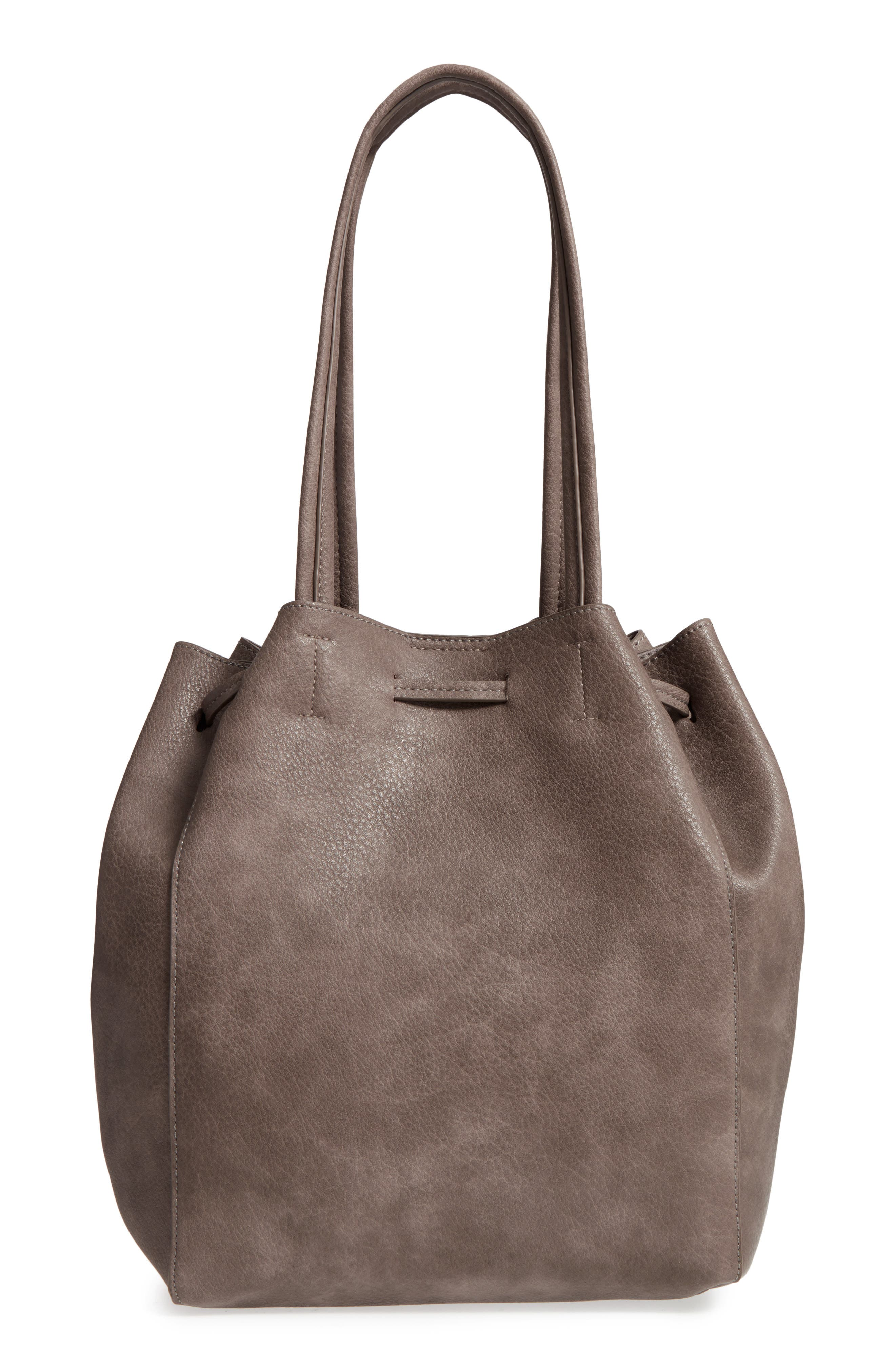 Faux Leather Drawstring Tote,                             Alternate thumbnail 2, color,                             Light Grey