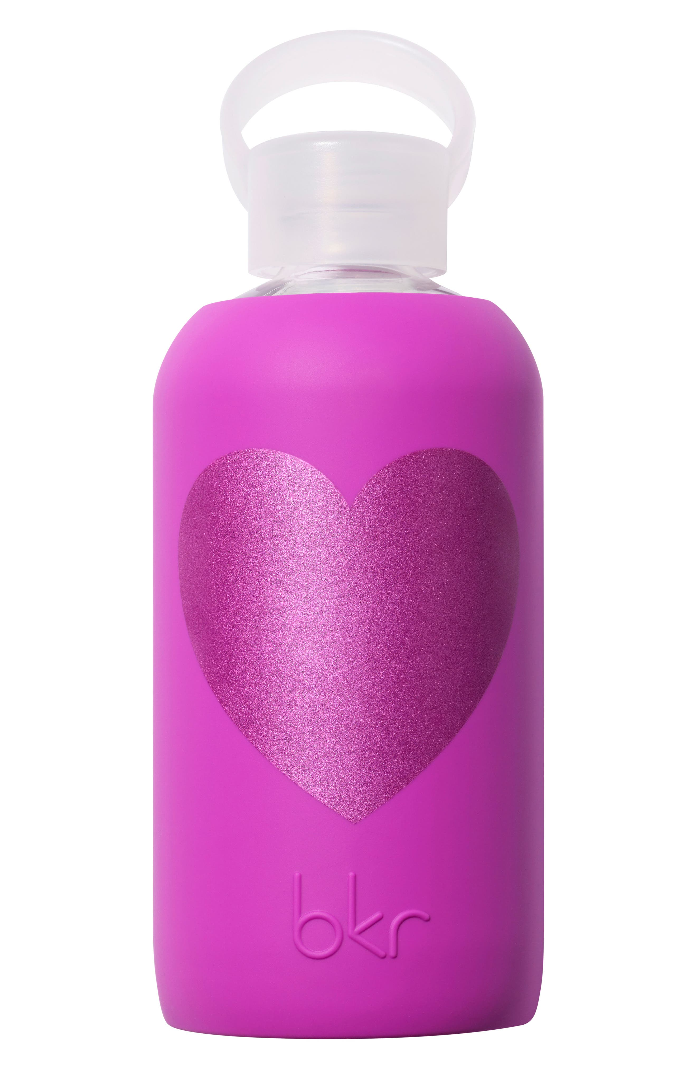 Main Image - bkr® Heart 16-Ounce Glass Water Bottle