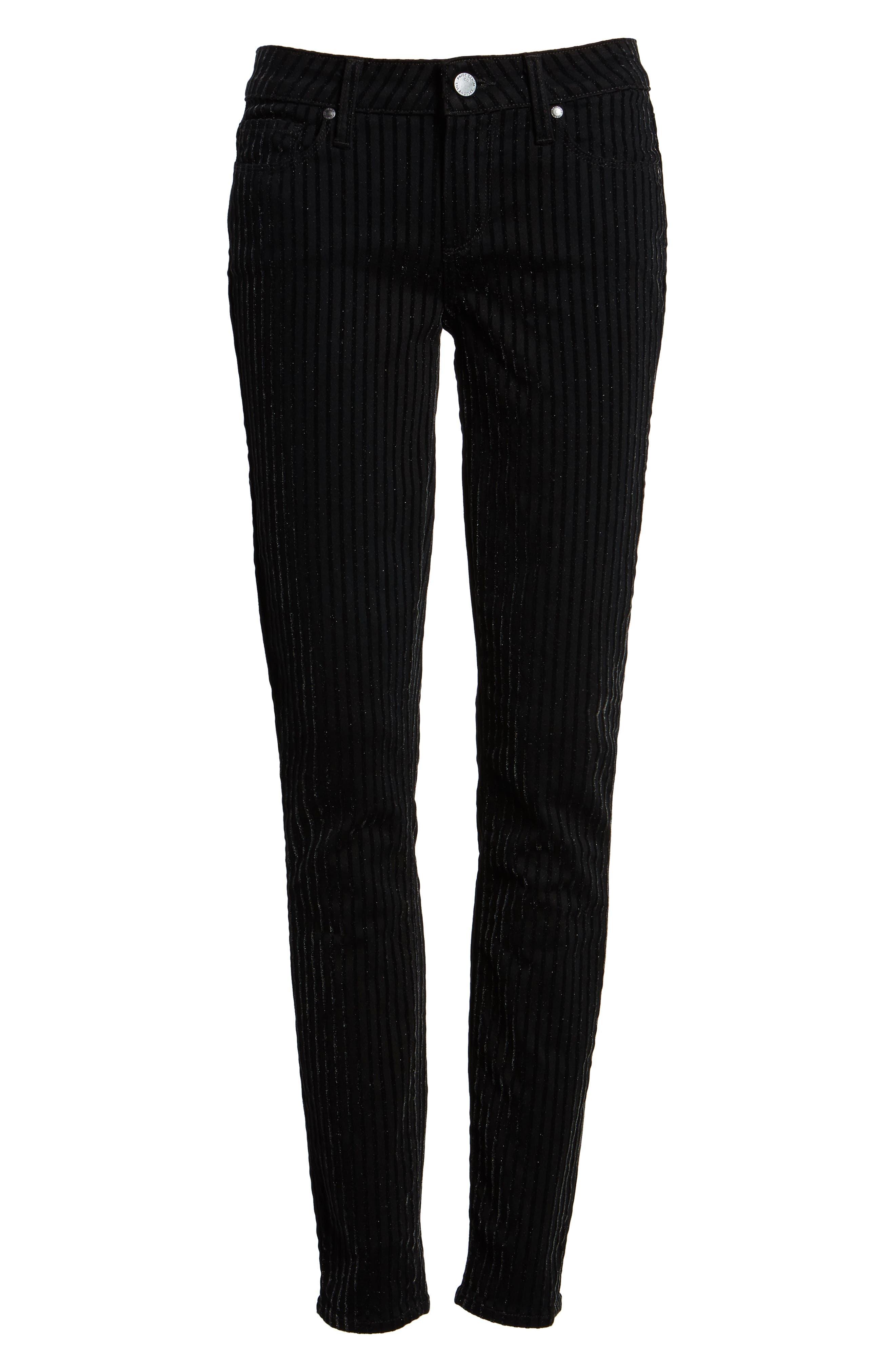 Alternate Image 6  - PAIGE Verdugo Ultra Skinny Jeans (Noir Flocked Stripe)