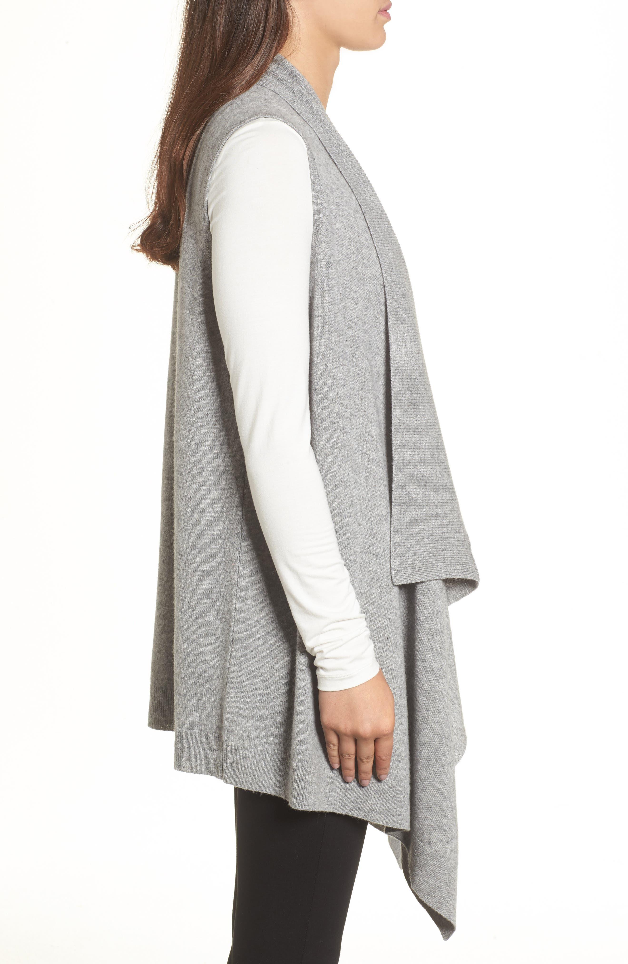 Alternate Image 3  - Halogen® Wool & Cashmere Drape Front Sweater Vest
