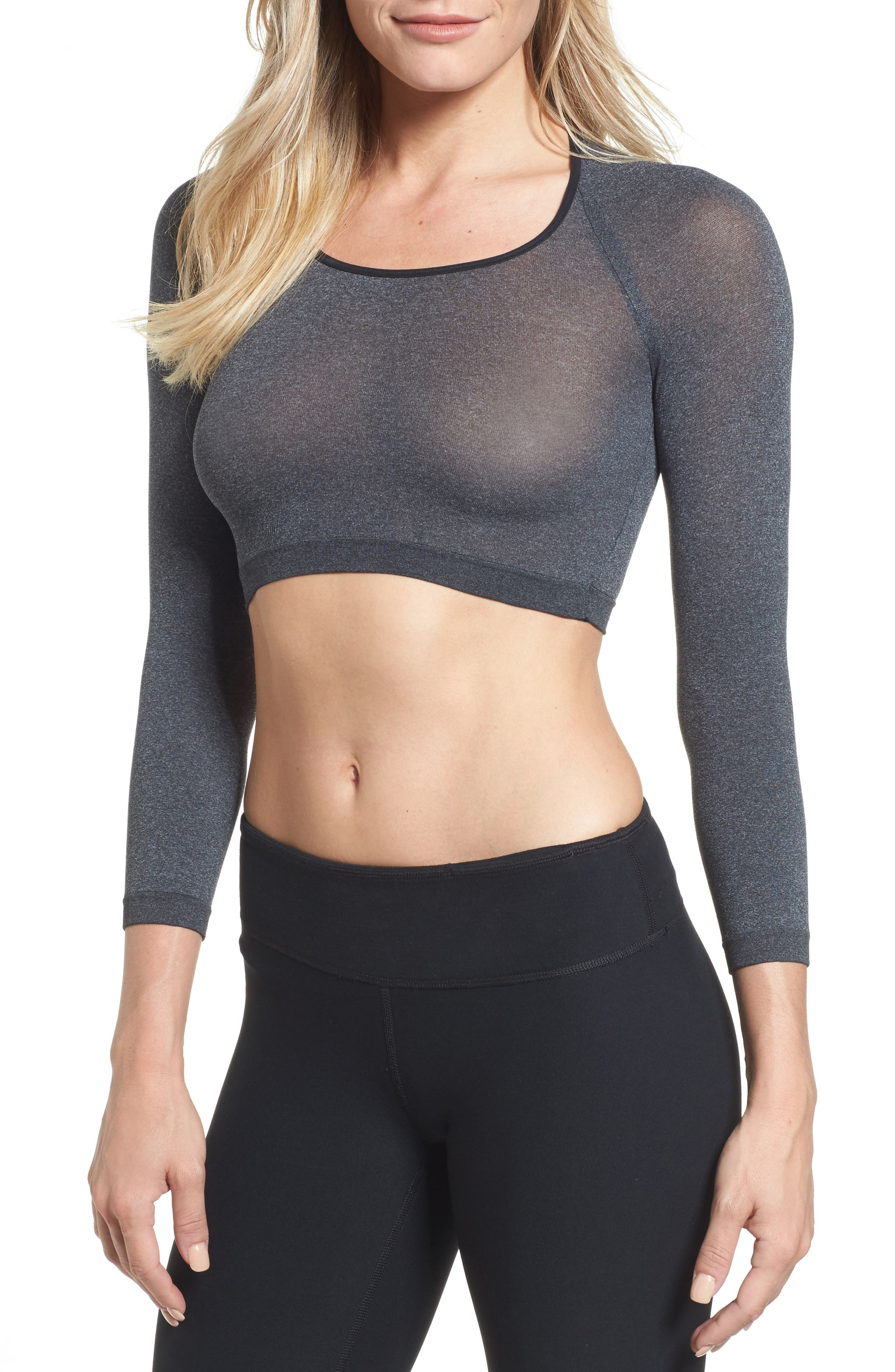 SPANX Arm Tights<sup>™</sup> Opaque Layering Top,                             Main thumbnail 1, color,                             Heather Grey