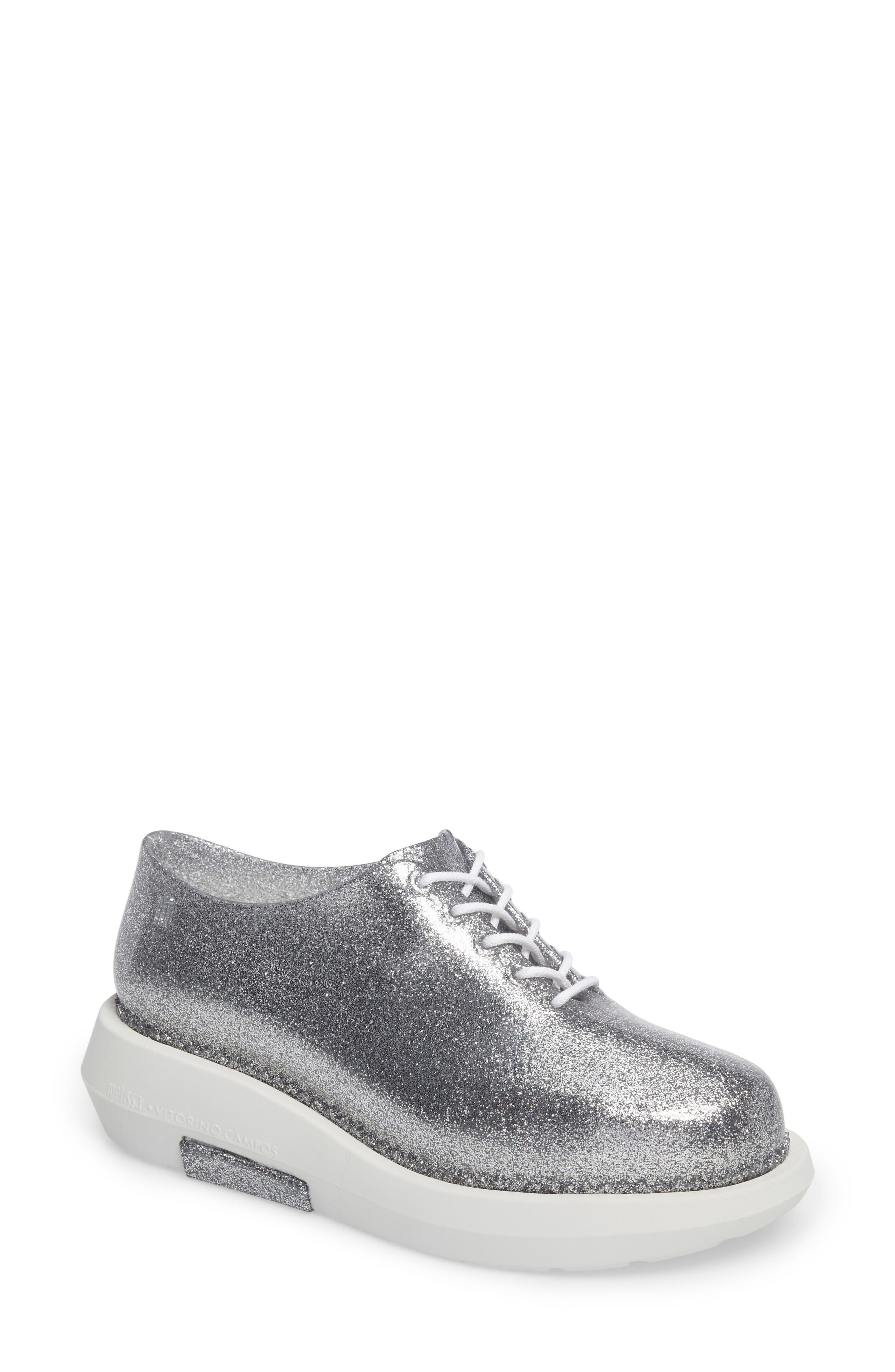Grunge Vitorino Water Resistant Oxford,                         Main,                         color, Silver Glitter White