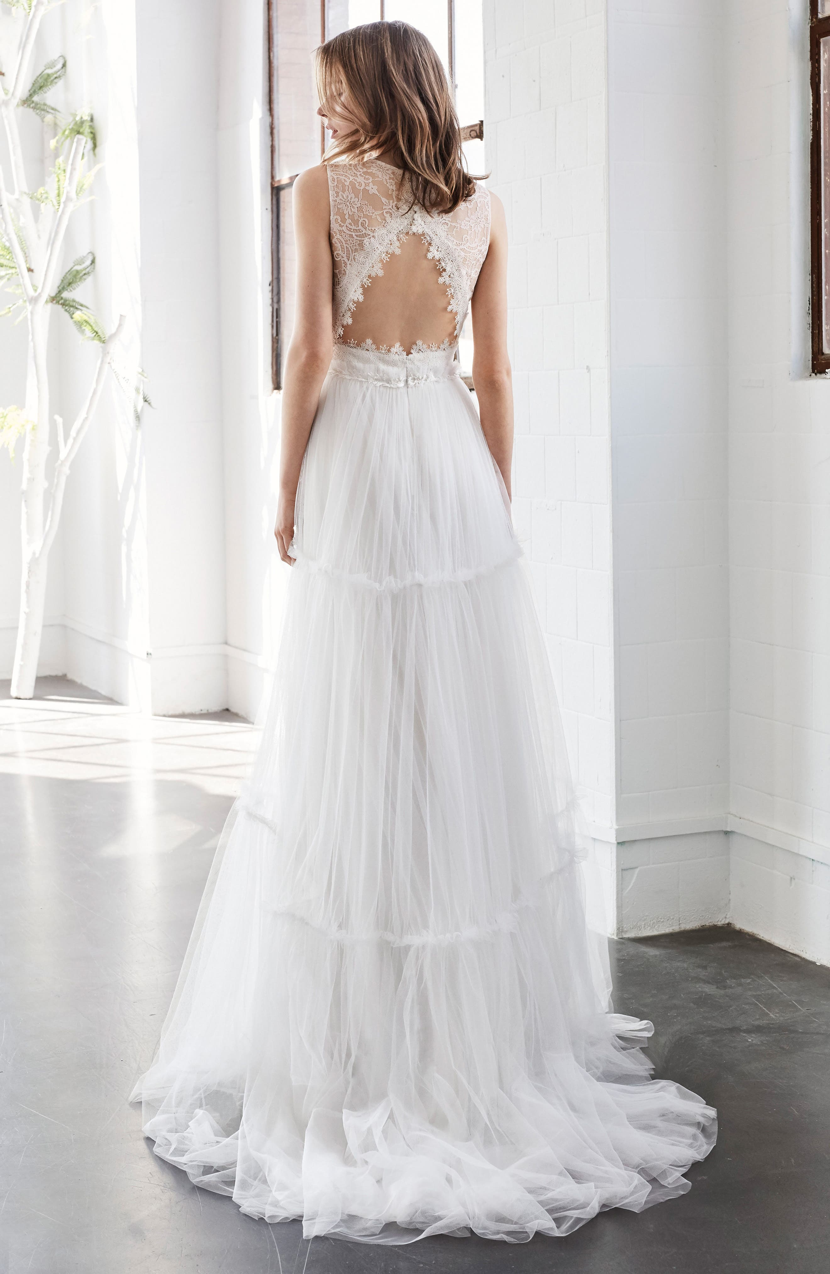 Alternate Image 2  - Inmaculada García Jaspe Lace & Tulle A-Line Gown