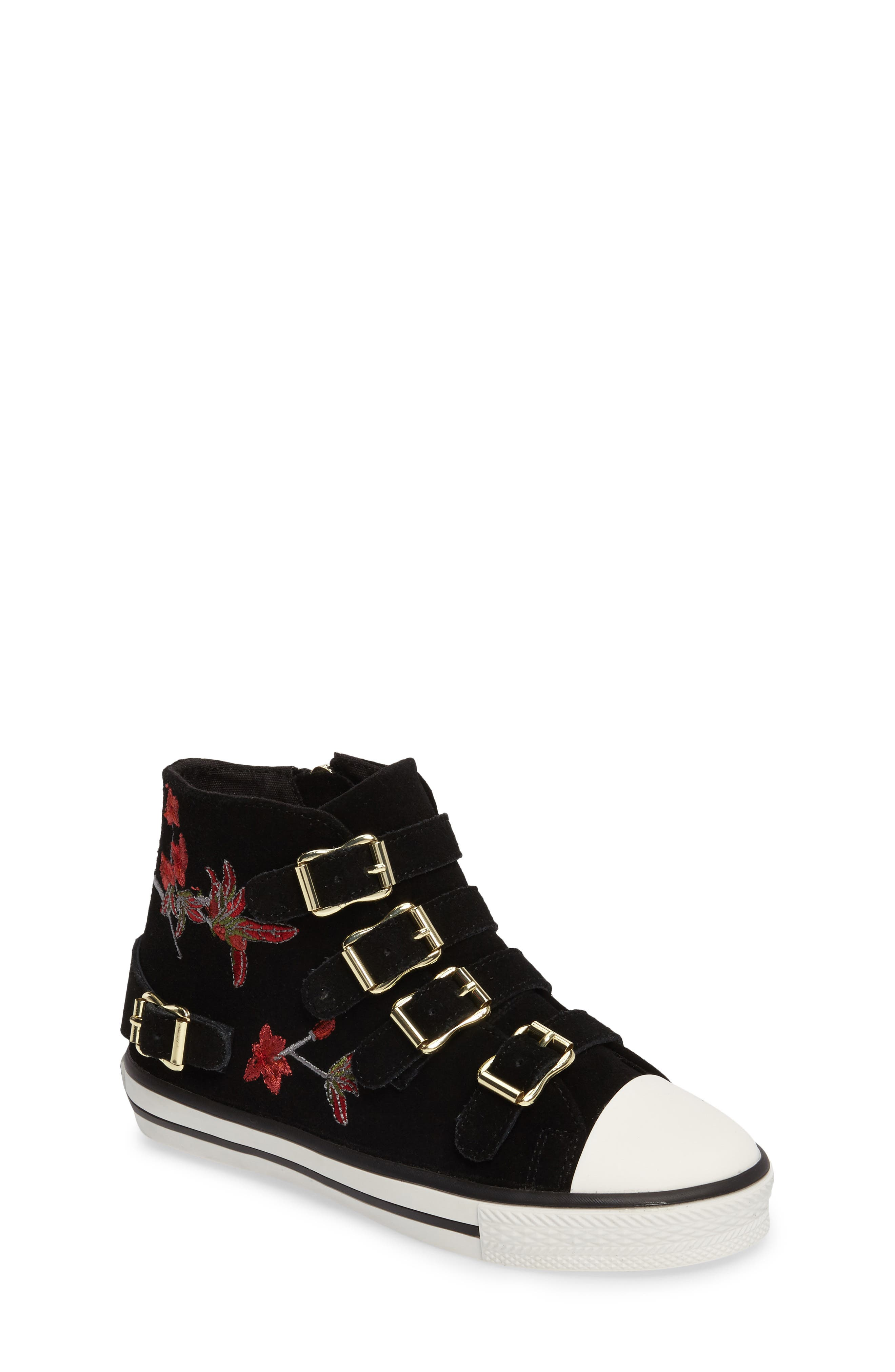 Vava Flowers Embroidered High Top Sneaker,                         Main,                         color, Black Suede