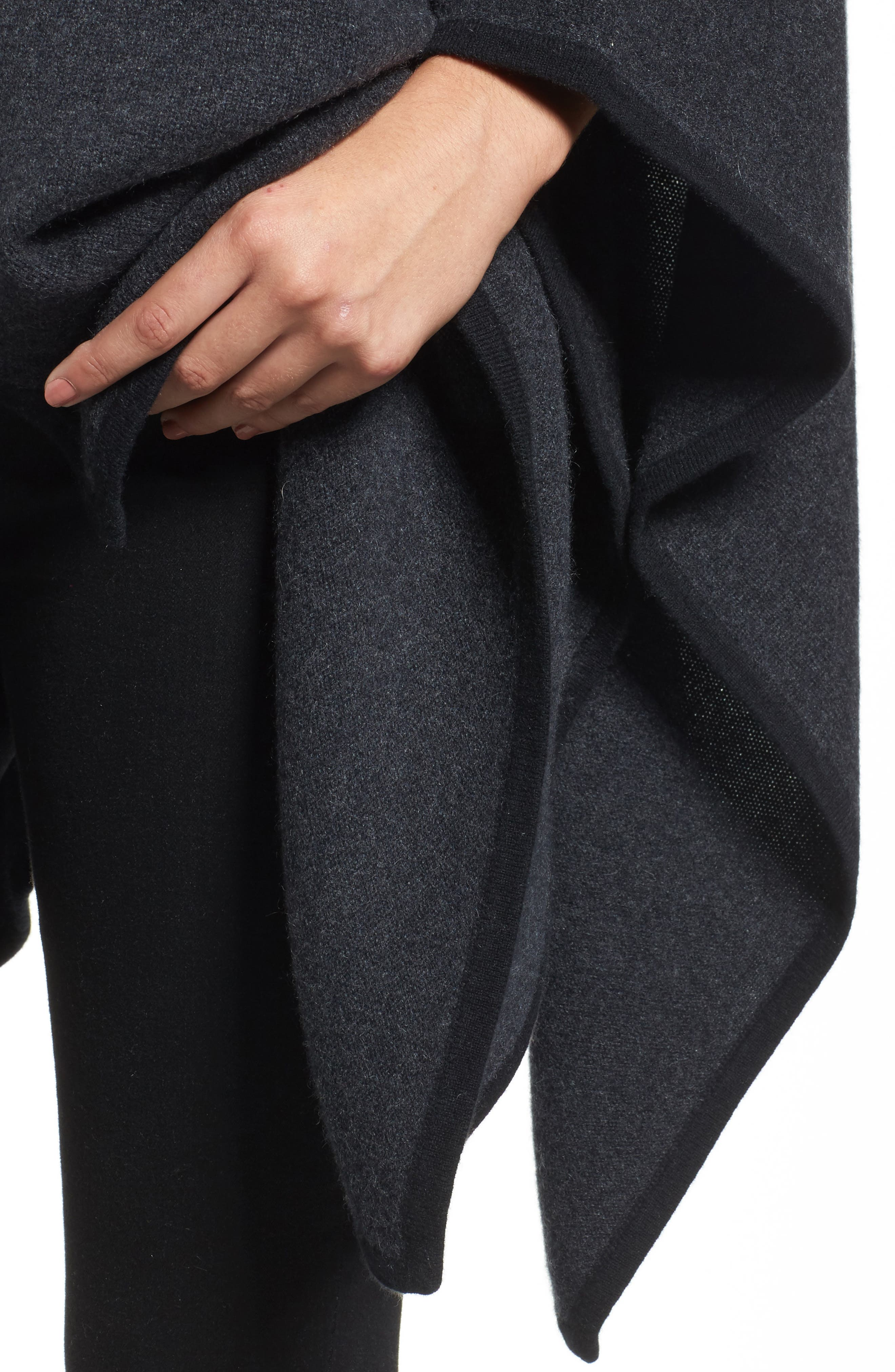 Cashmere Cape,                             Alternate thumbnail 4, color,                             Grey Dark Charcoal Heather