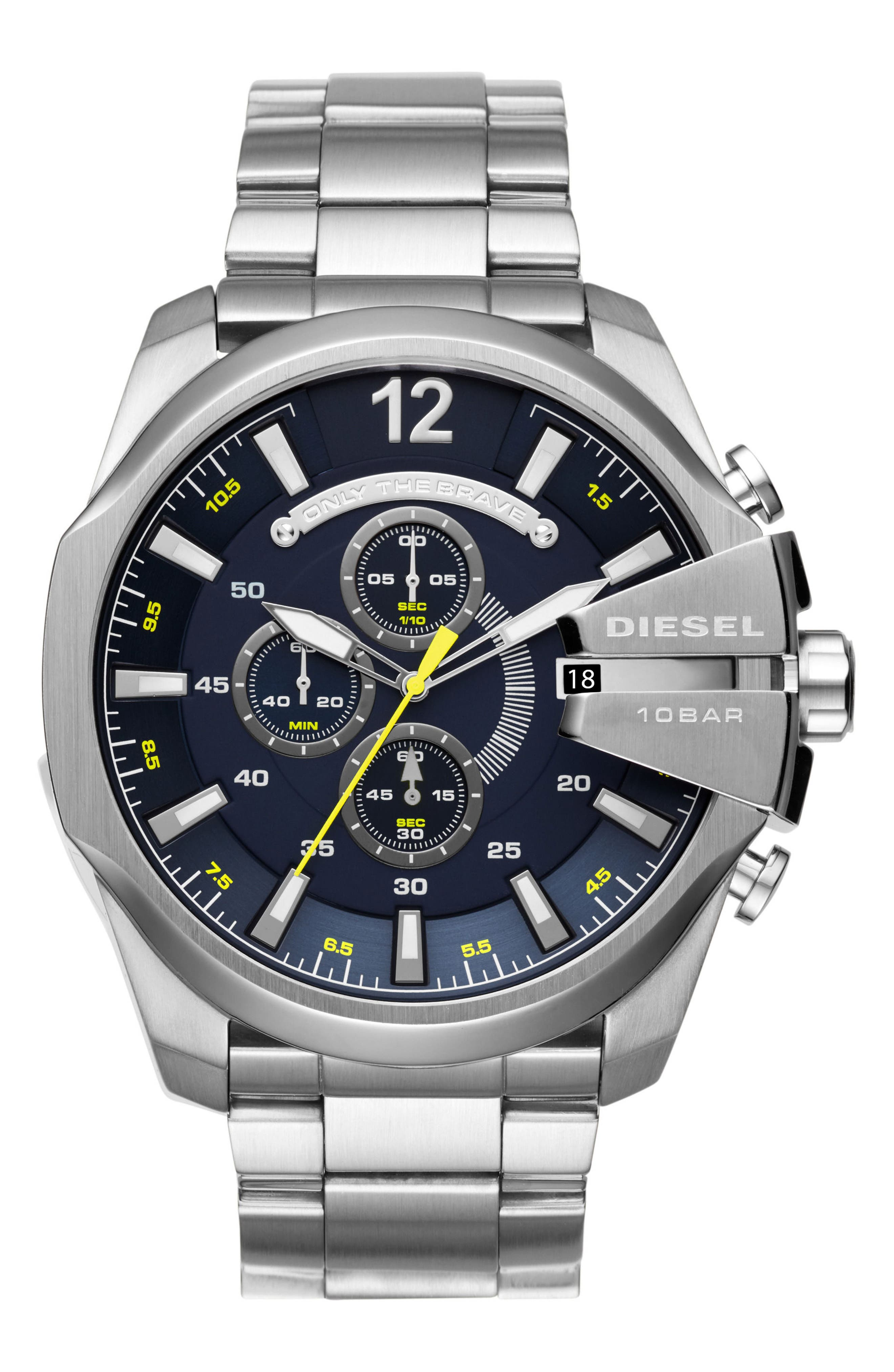 Mega Chief Chronograph Bracelet Watch, 51mm x 59mm,                         Main,                         color, Stainless Steel