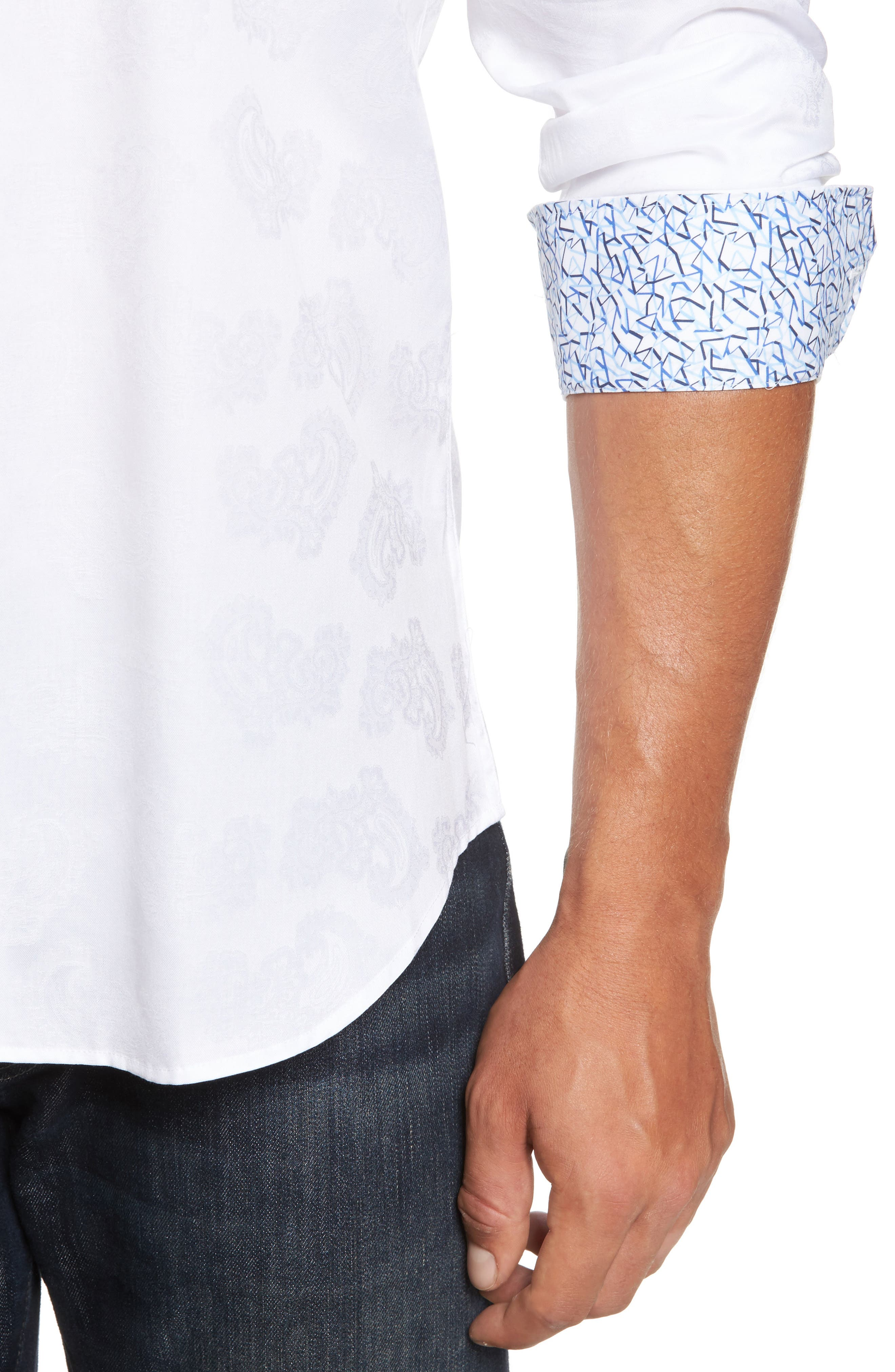 Trim Fit Floral Jacquard Sport Shirt,                             Alternate thumbnail 4, color,                             White