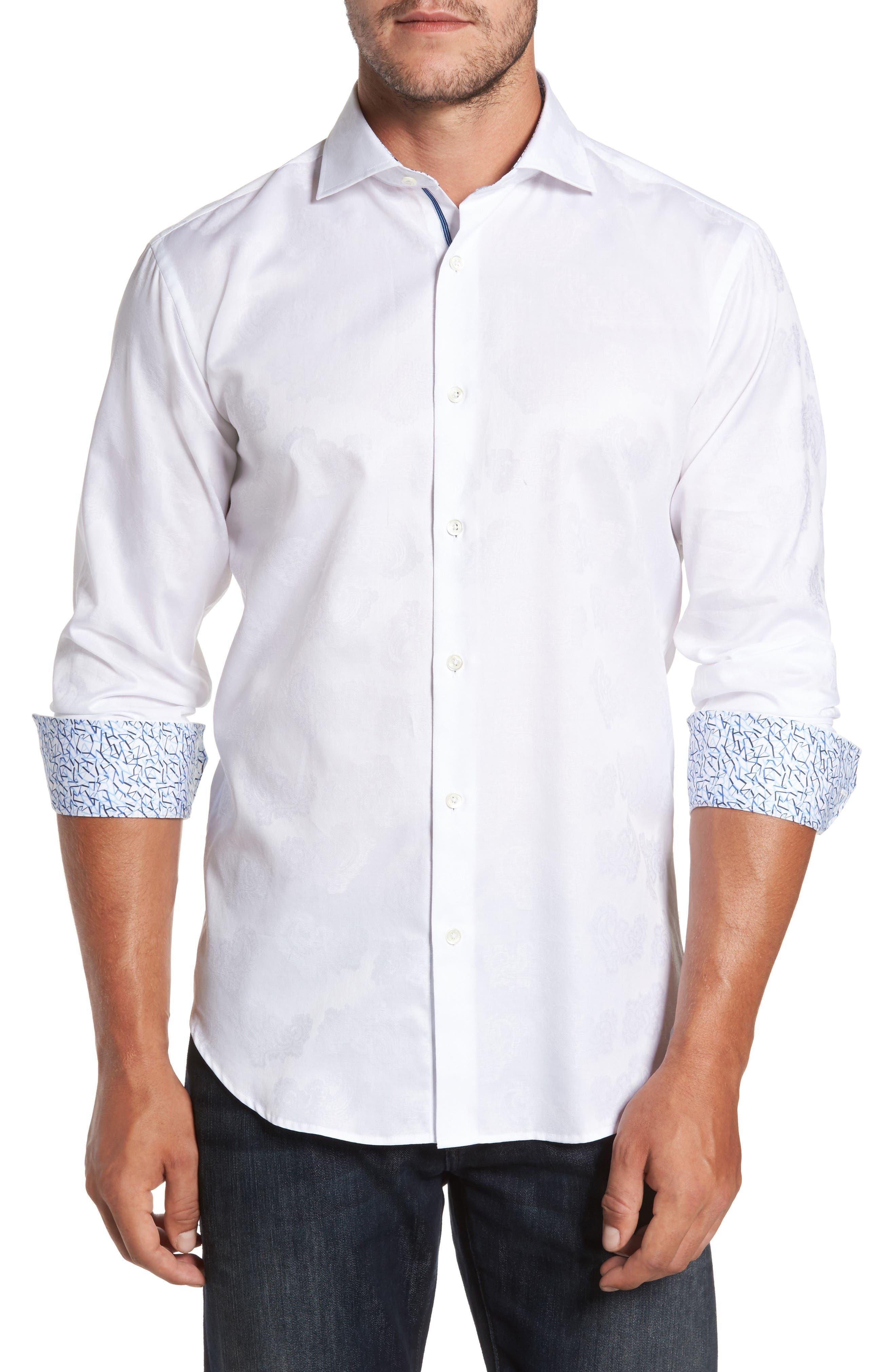 Trim Fit Floral Jacquard Sport Shirt,                         Main,                         color, White