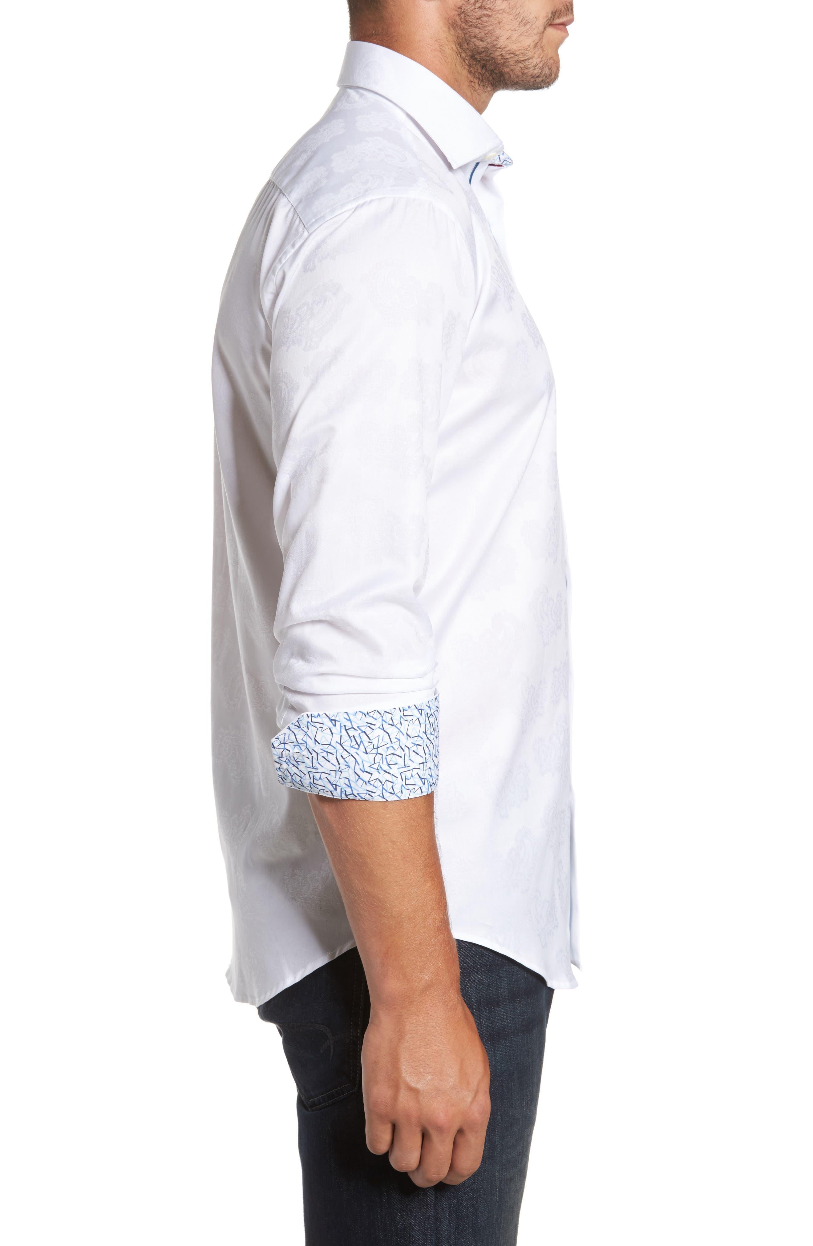 Trim Fit Floral Jacquard Sport Shirt,                             Alternate thumbnail 3, color,                             White