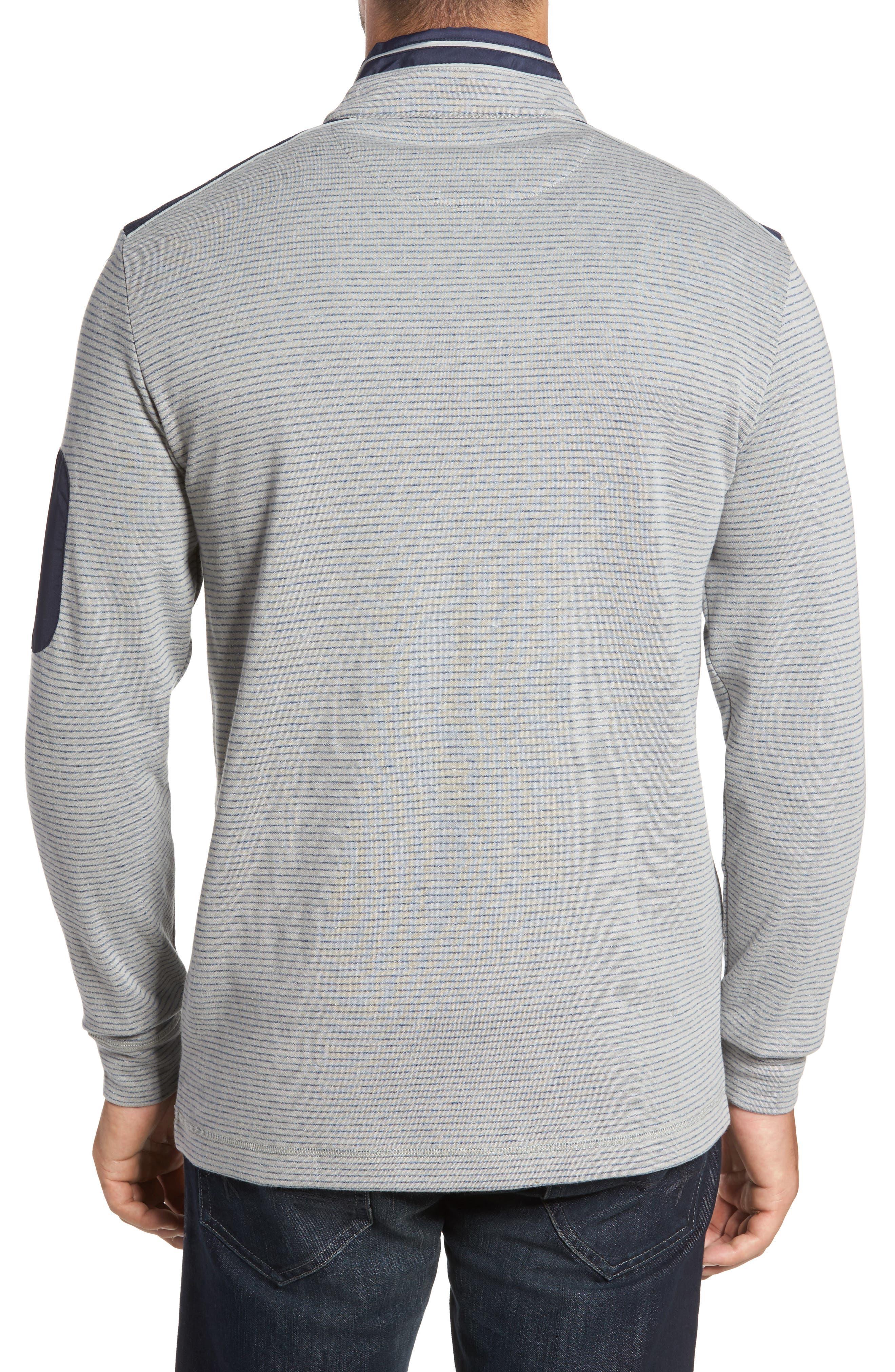 Classic Fit Pinstripe Quarter Zip Pullover,                             Alternate thumbnail 2, color,                             Cement