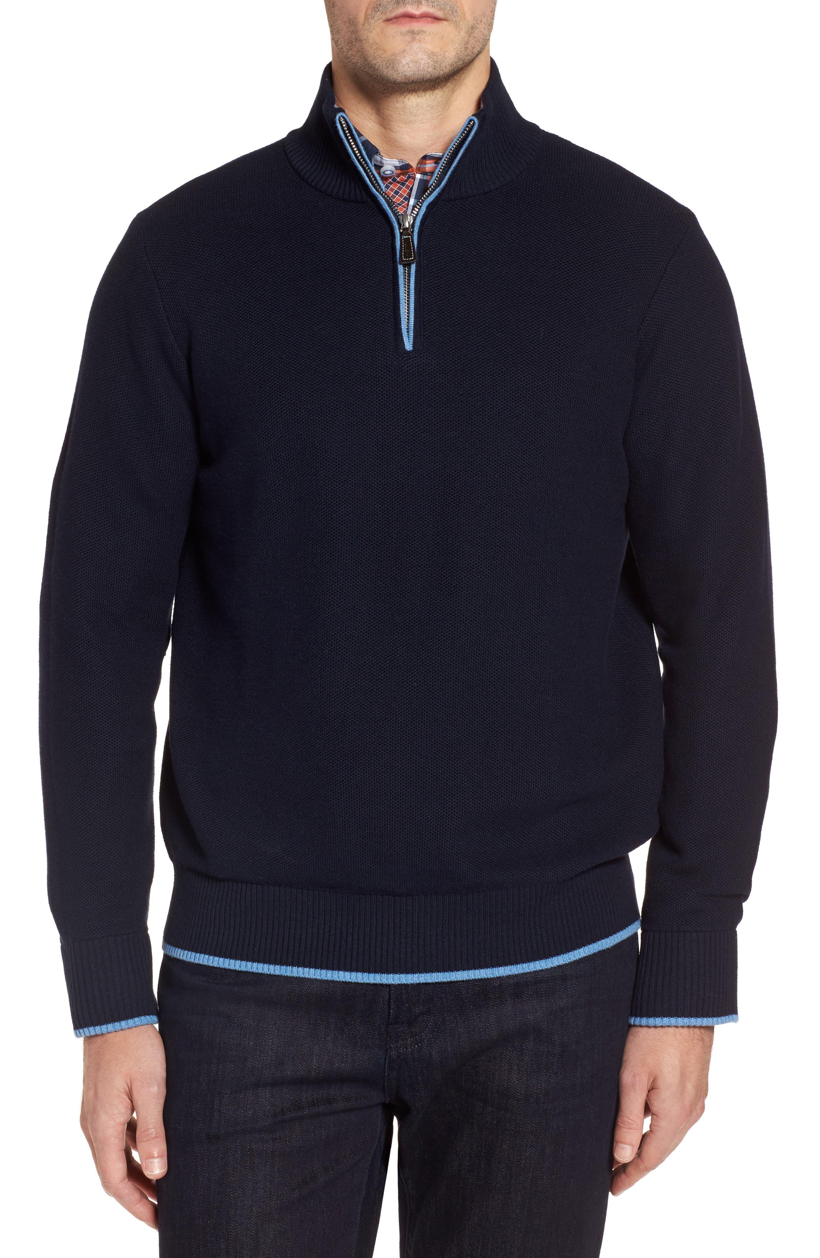 Killona Tipped Quarter Zip Sweater,                         Main,                         color, Navy