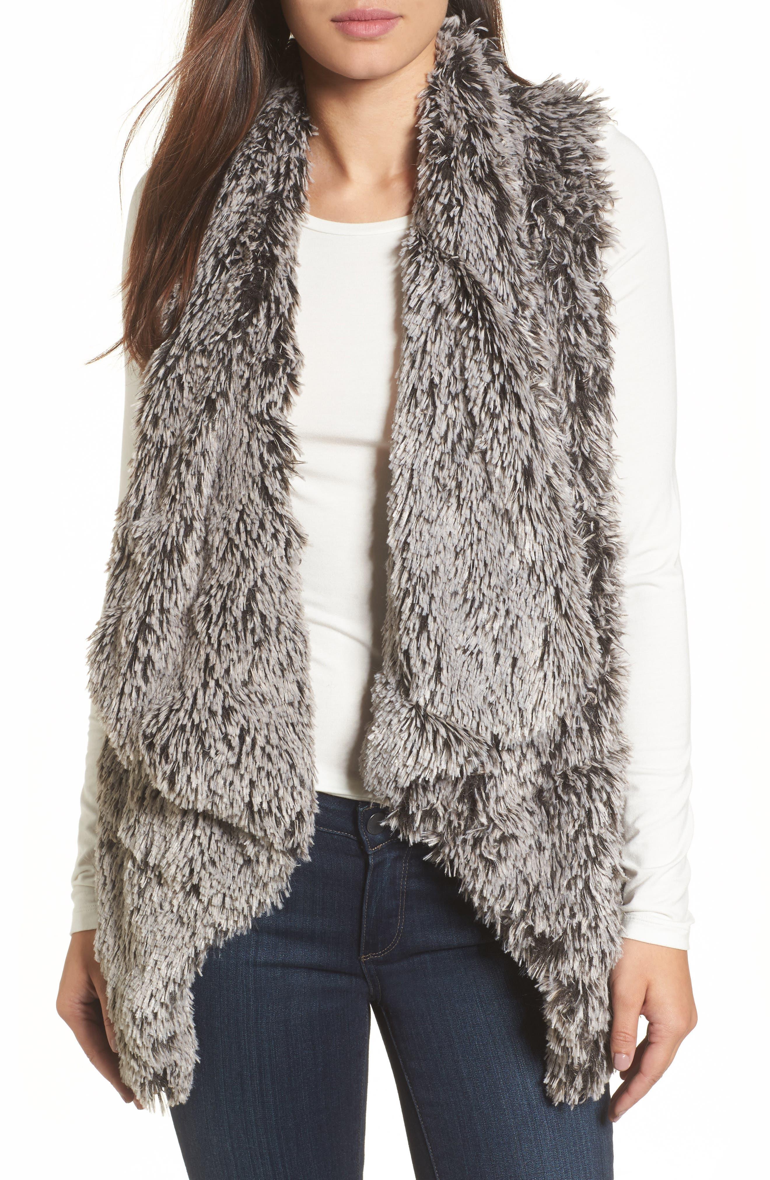 Faux Fur Drape Front Vest,                         Main,                         color, Grey