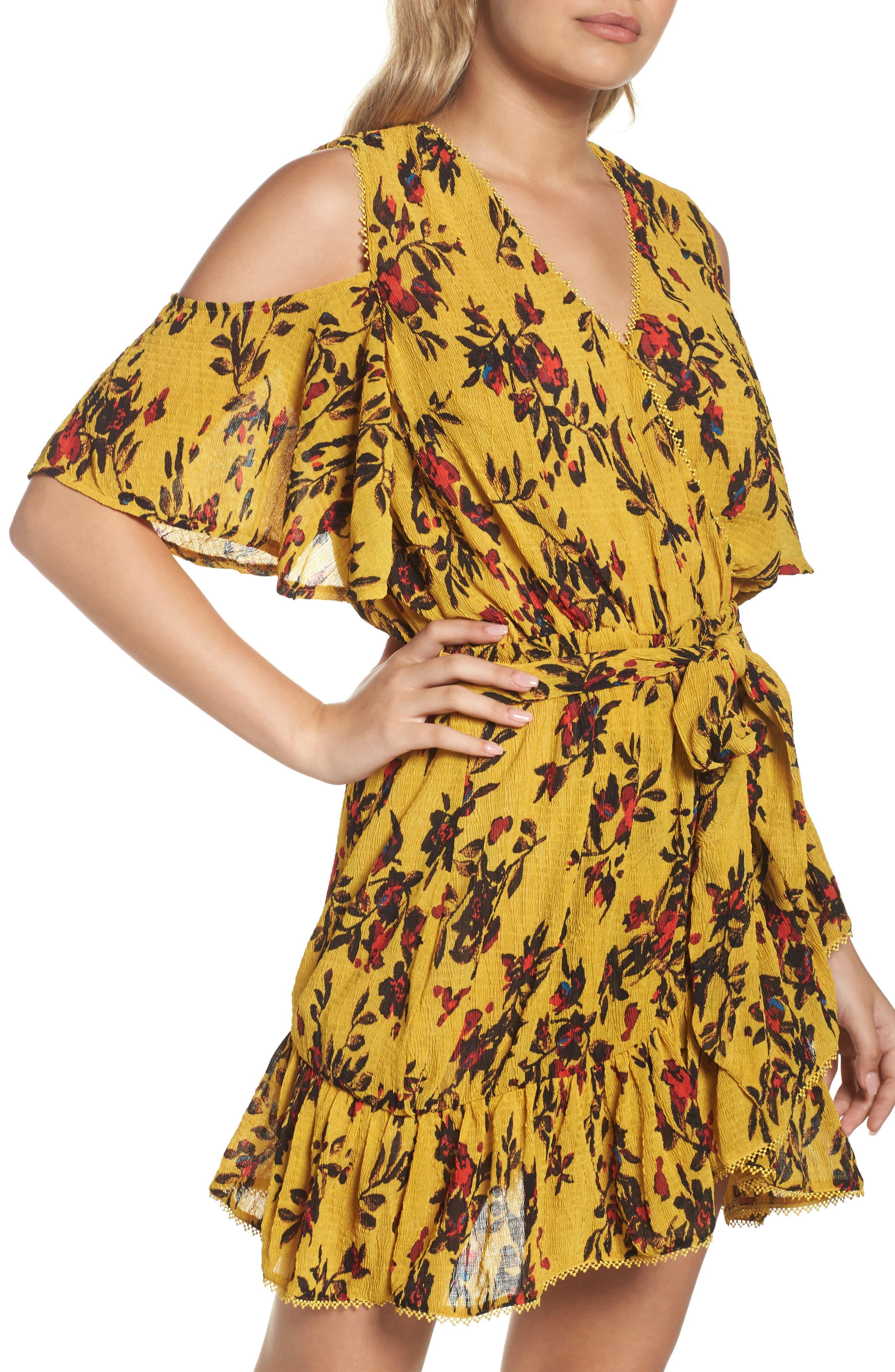 Alternate Image 4  - Foxiedox Windsome Floral Cold Shoulder Wrap Dress