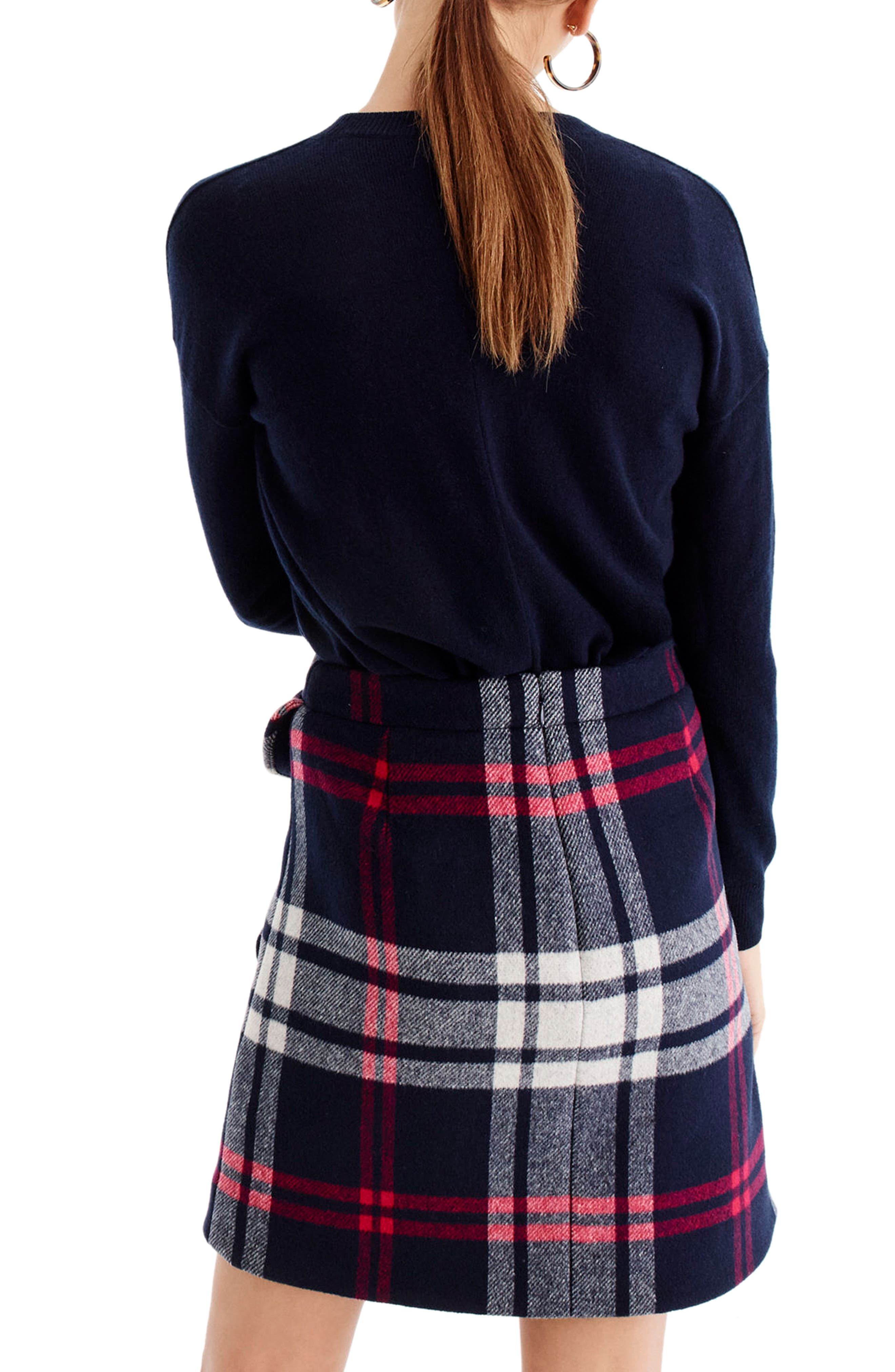 Plaid Ruffle Double-Serge Wool Mini Skirt,                             Alternate thumbnail 3, color,                             Red Navy White