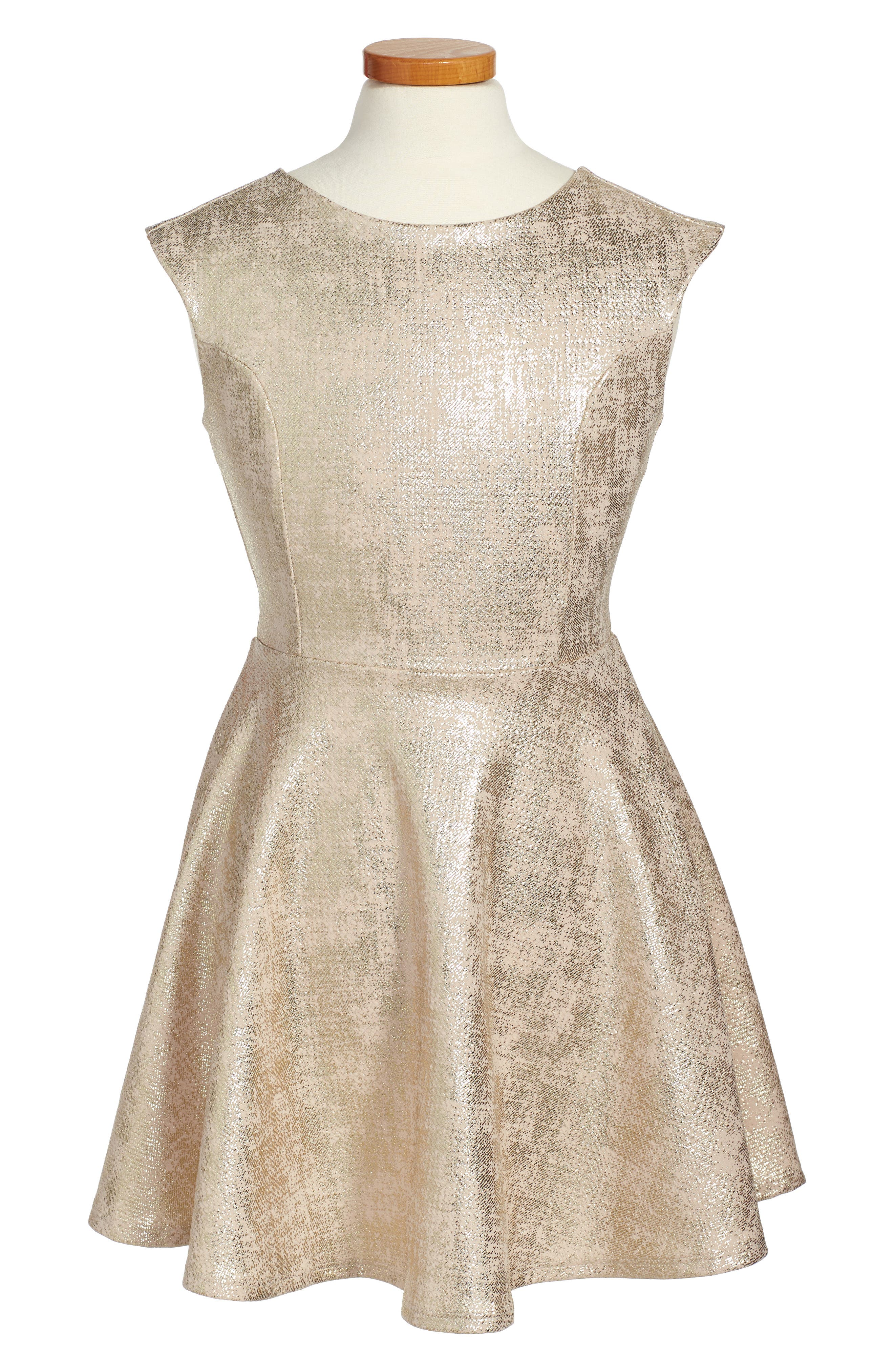 Cap Sleeve Party Dress,                         Main,                         color, Gold