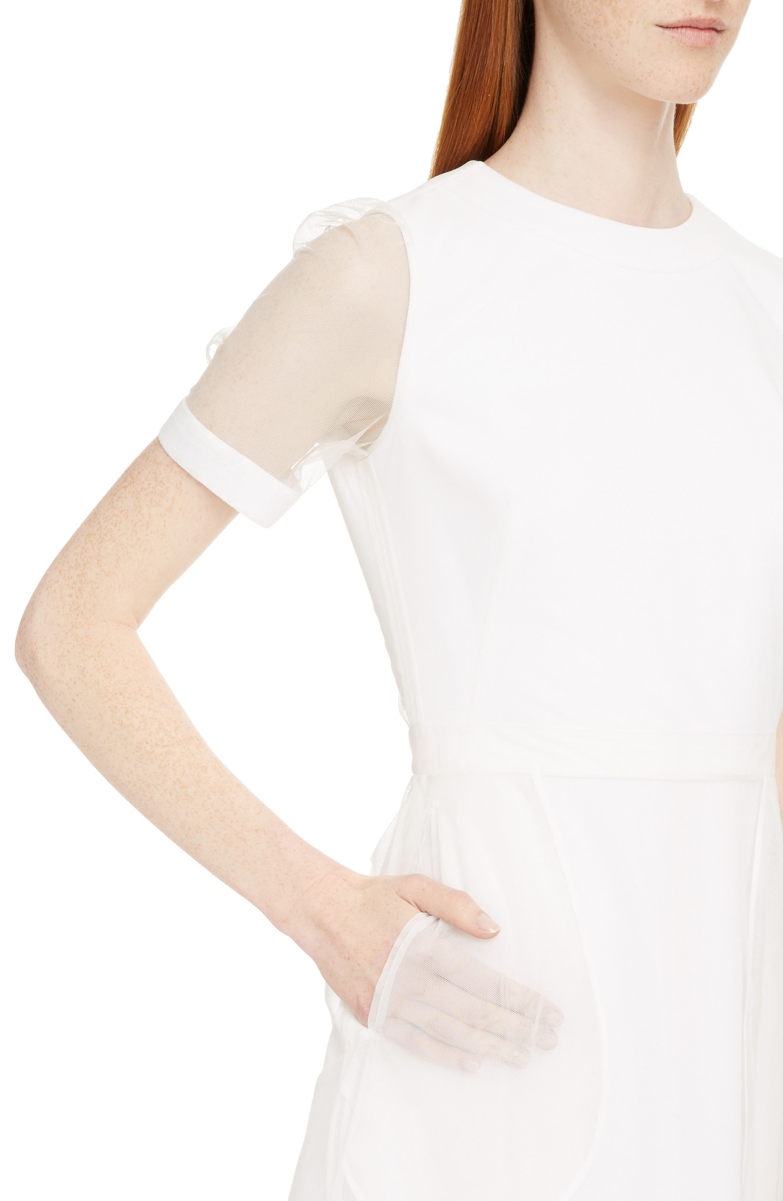 Sheer Overlay Stretch Cady Dress,                             Alternate thumbnail 4, color,                             White