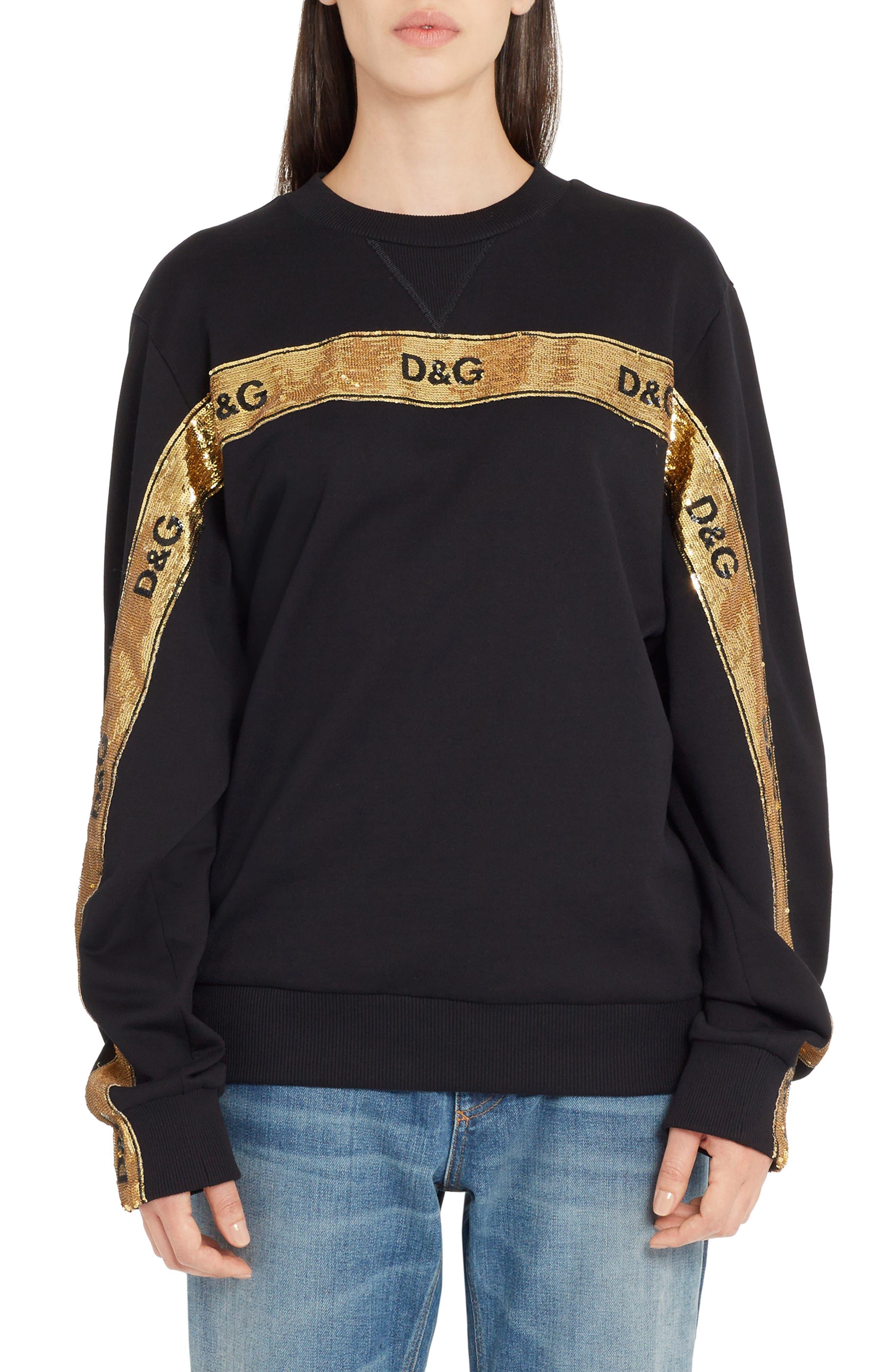 Sequin Logo Stripe Sweatshirt,                         Main,                         color, Black