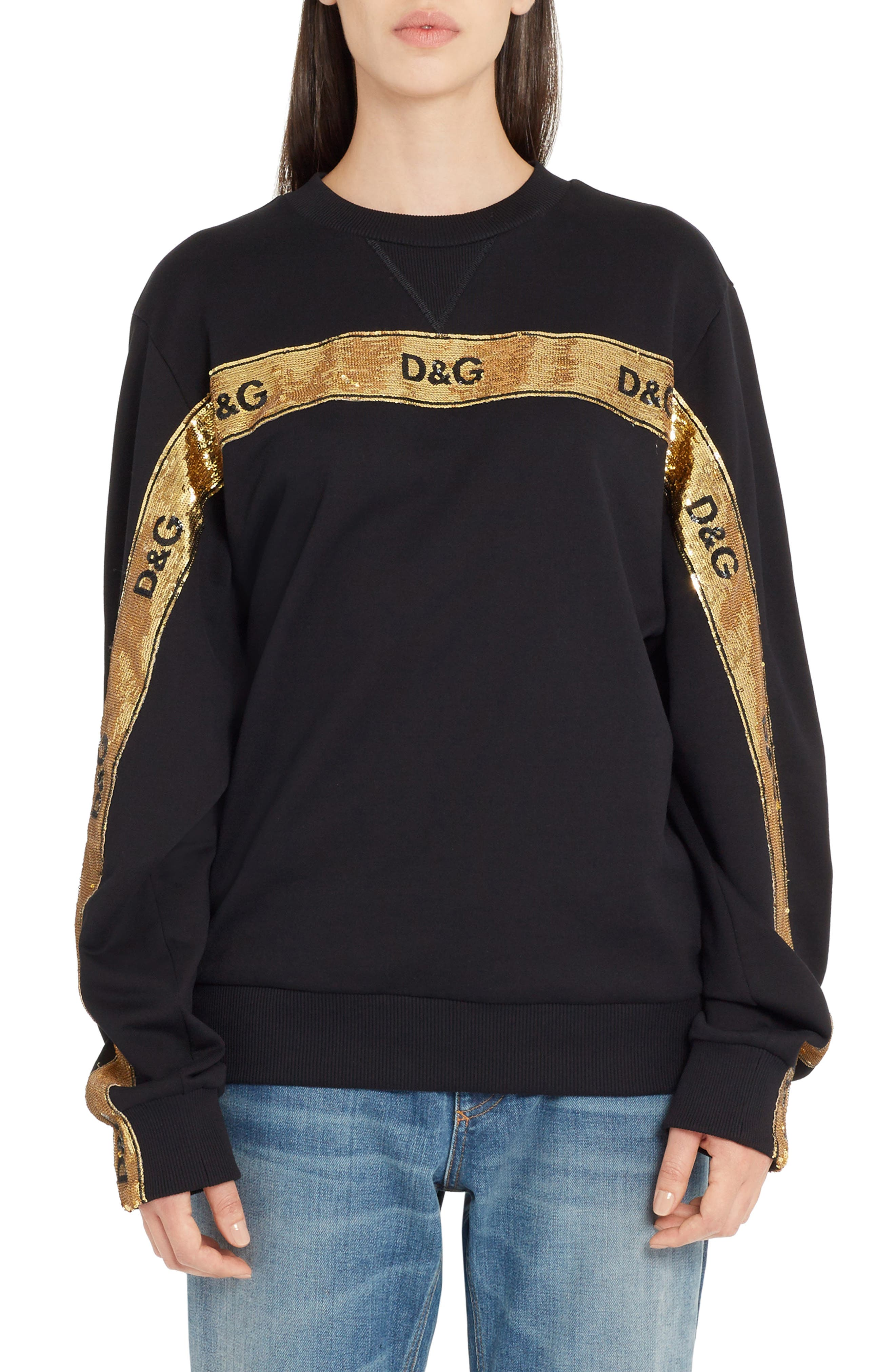Dolce&Gabbana Sequin Logo Stripe Sweatshirt