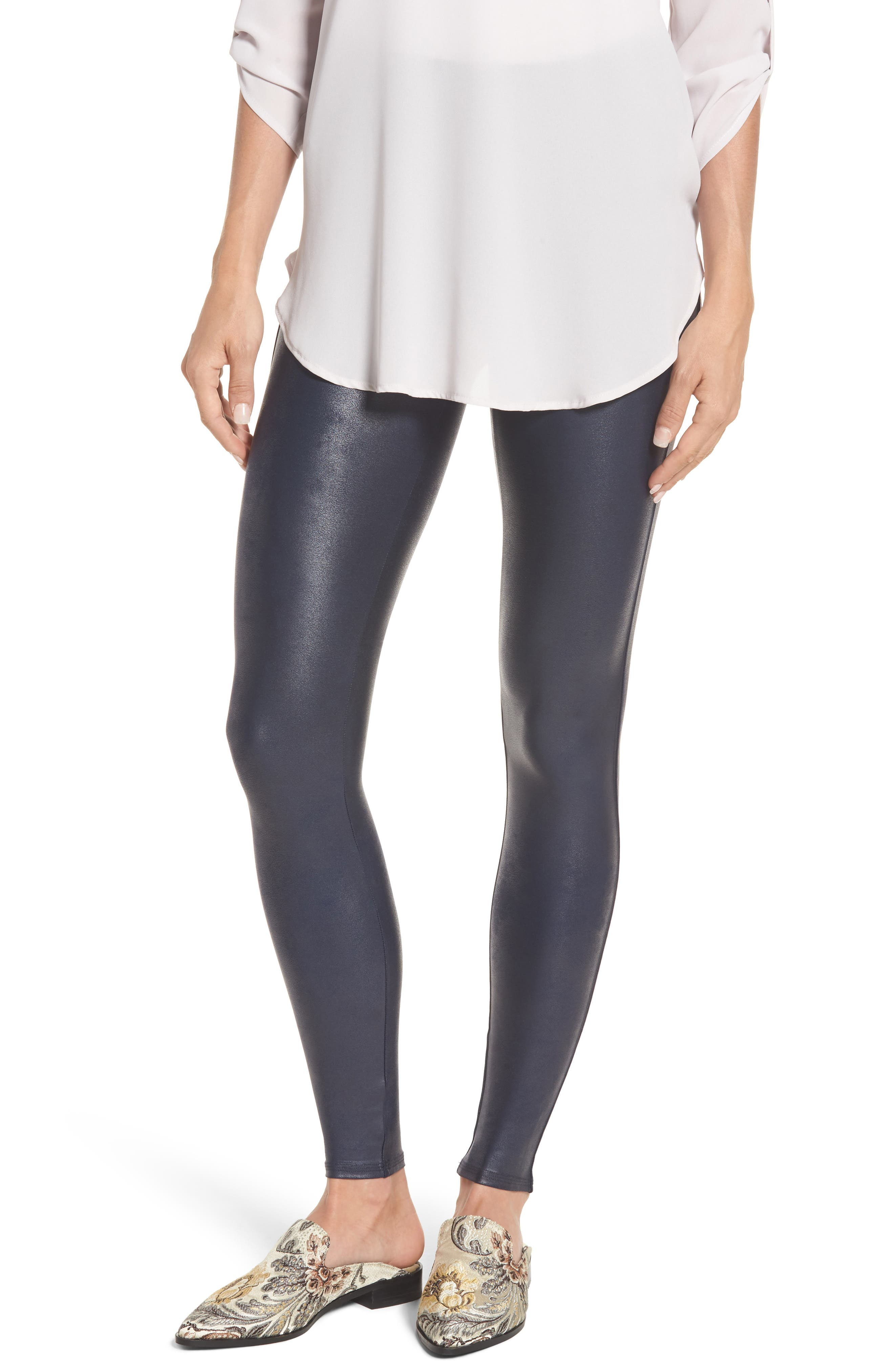 Faux Leather Leggings,                         Main,                         color, Night Navy