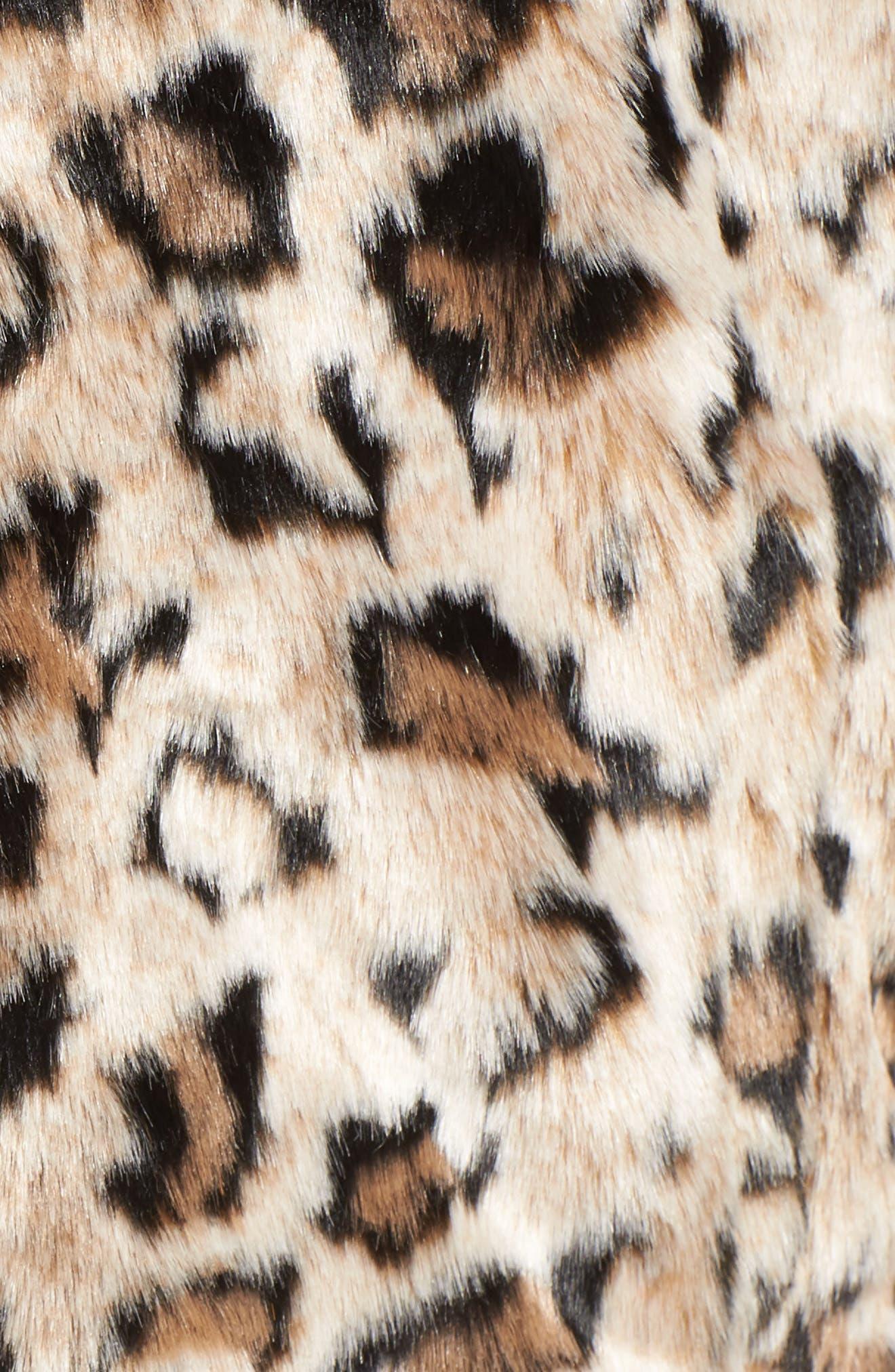 Rooney Leopard Spot Faux Fur Coat,                             Alternate thumbnail 5, color,                             Brown