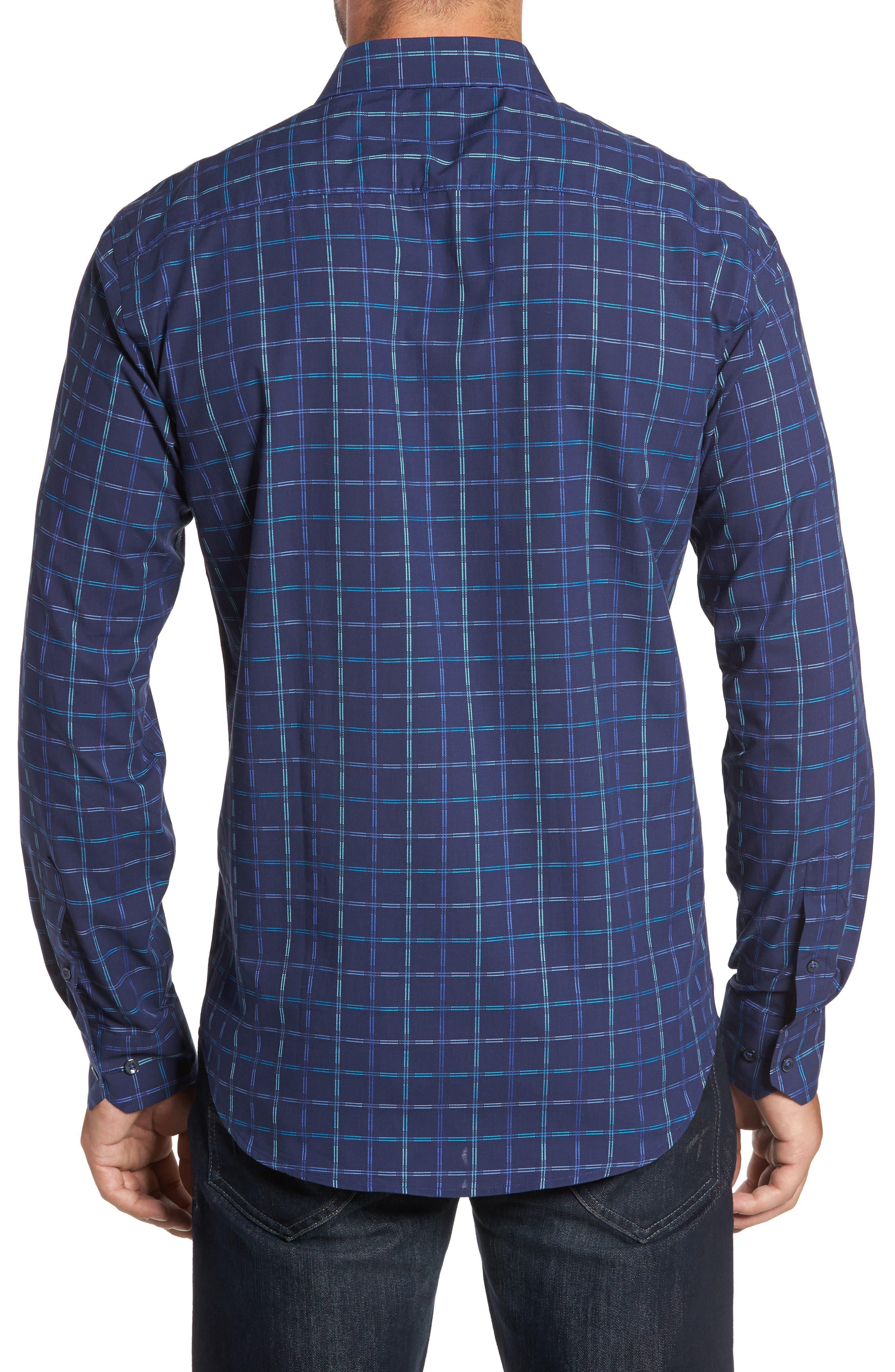 Alternate Image 2  - Bugatchi Trim Fit Tattersall Sport Shirt
