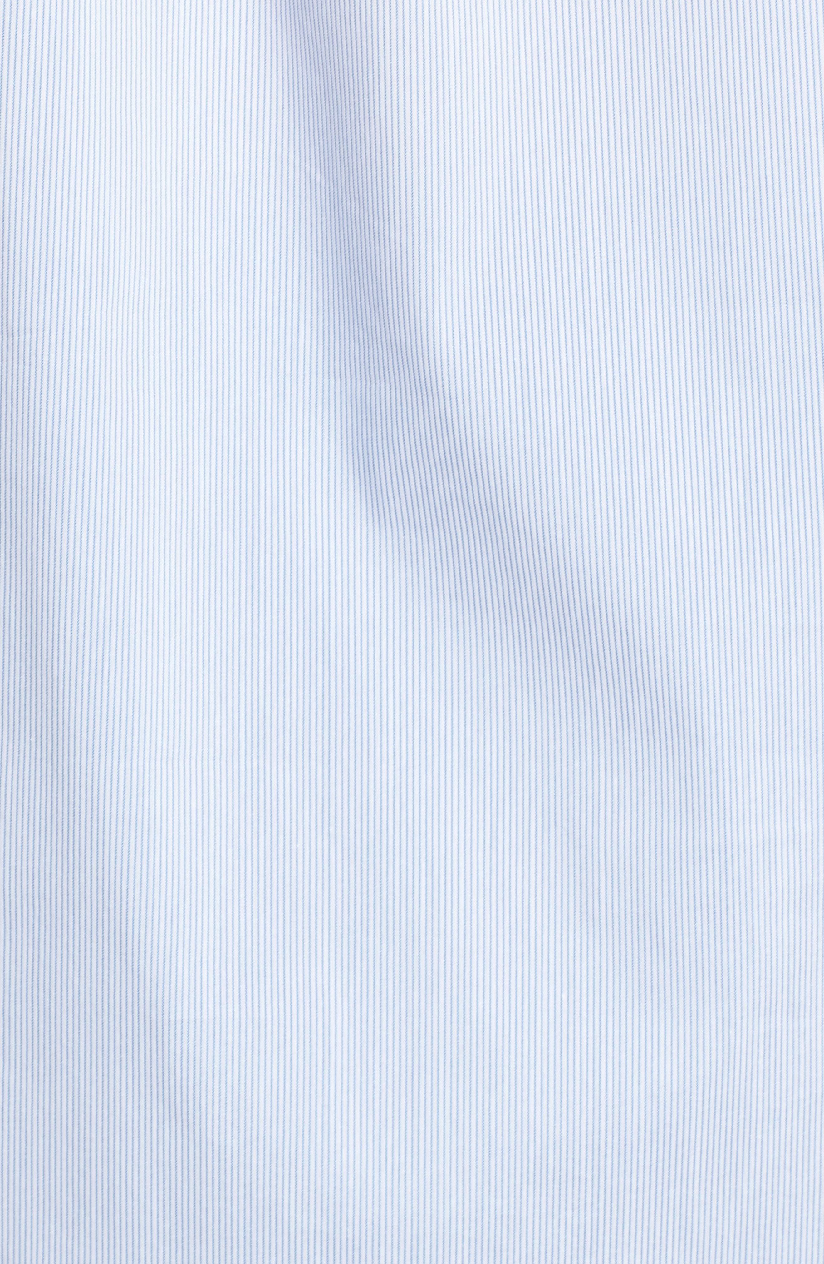 Off the Shoulder Stretch Poplin Shirt,                             Alternate thumbnail 5, color,                             Blue- White Mini Stripe