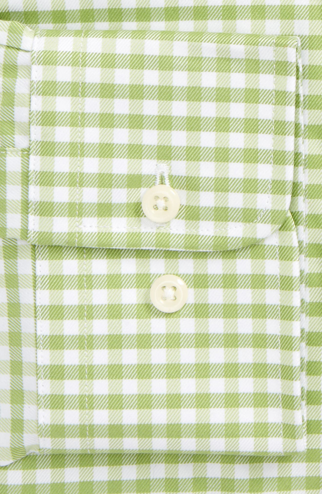 Trim Fit Gingham Dress Shirt,                             Alternate thumbnail 2, color,                             Grass