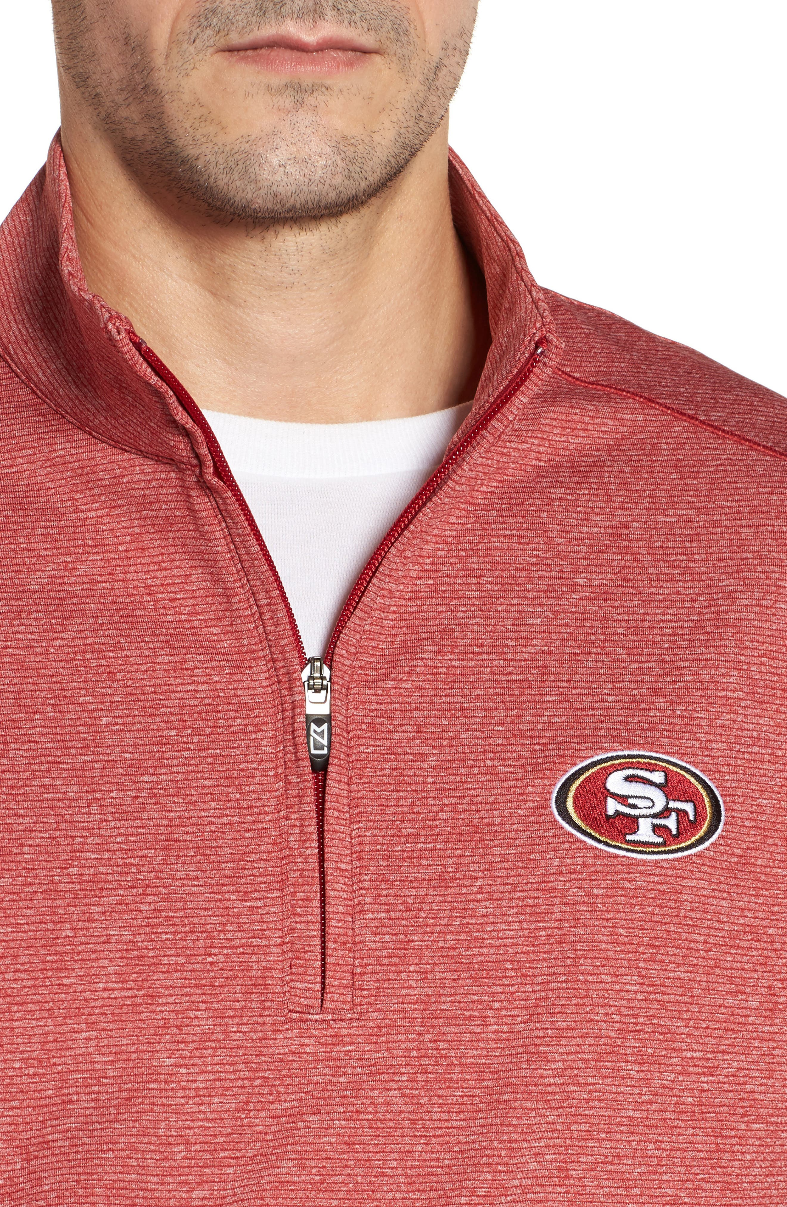 Shoreline - San Francisco 49ers Half Zip Pullover,                             Alternate thumbnail 4, color,                             Cardinal Red Heather