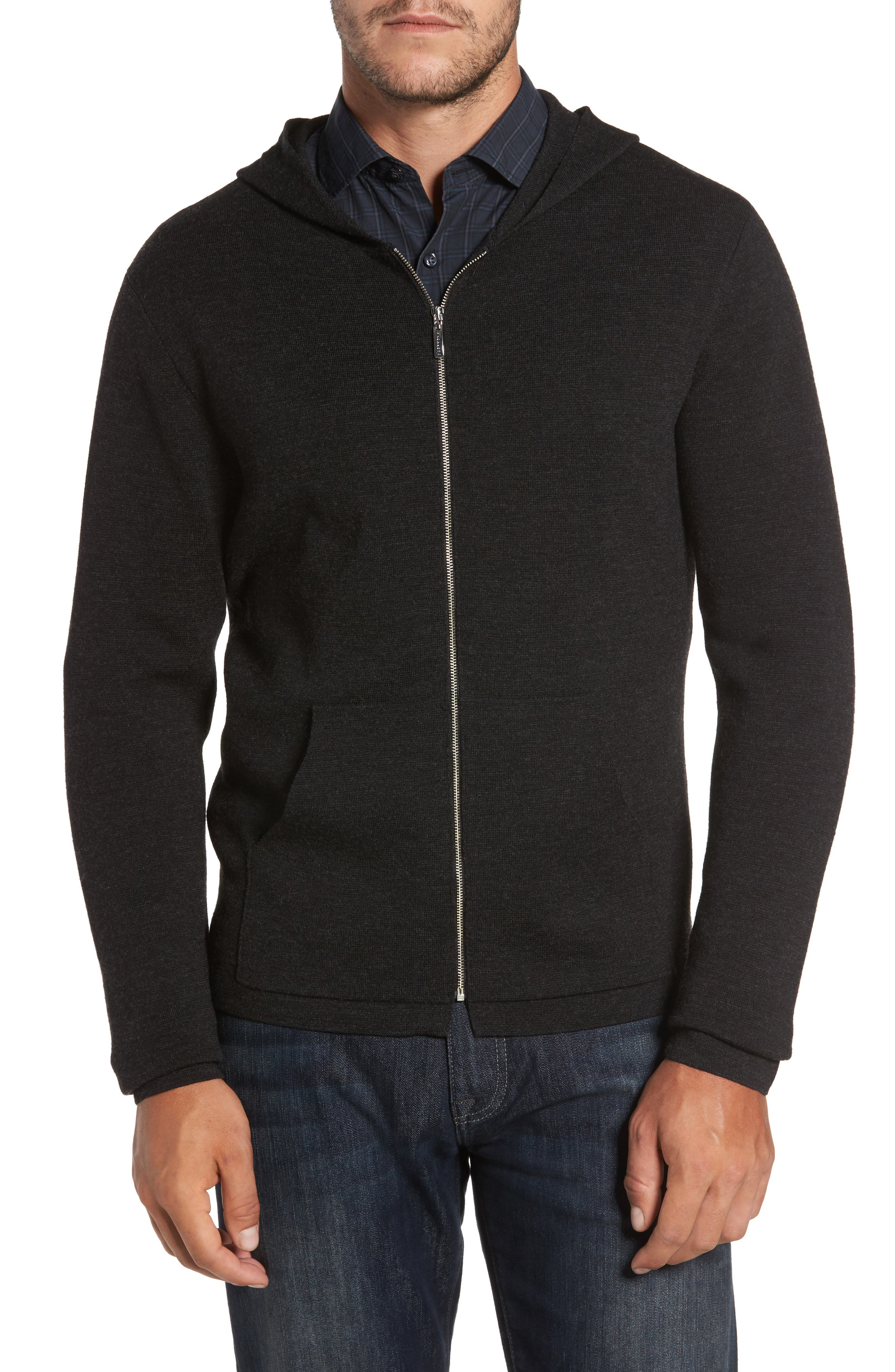 Carmichael Full Zip Merino Wool Hoodie,                             Main thumbnail 1, color,                             Titanium
