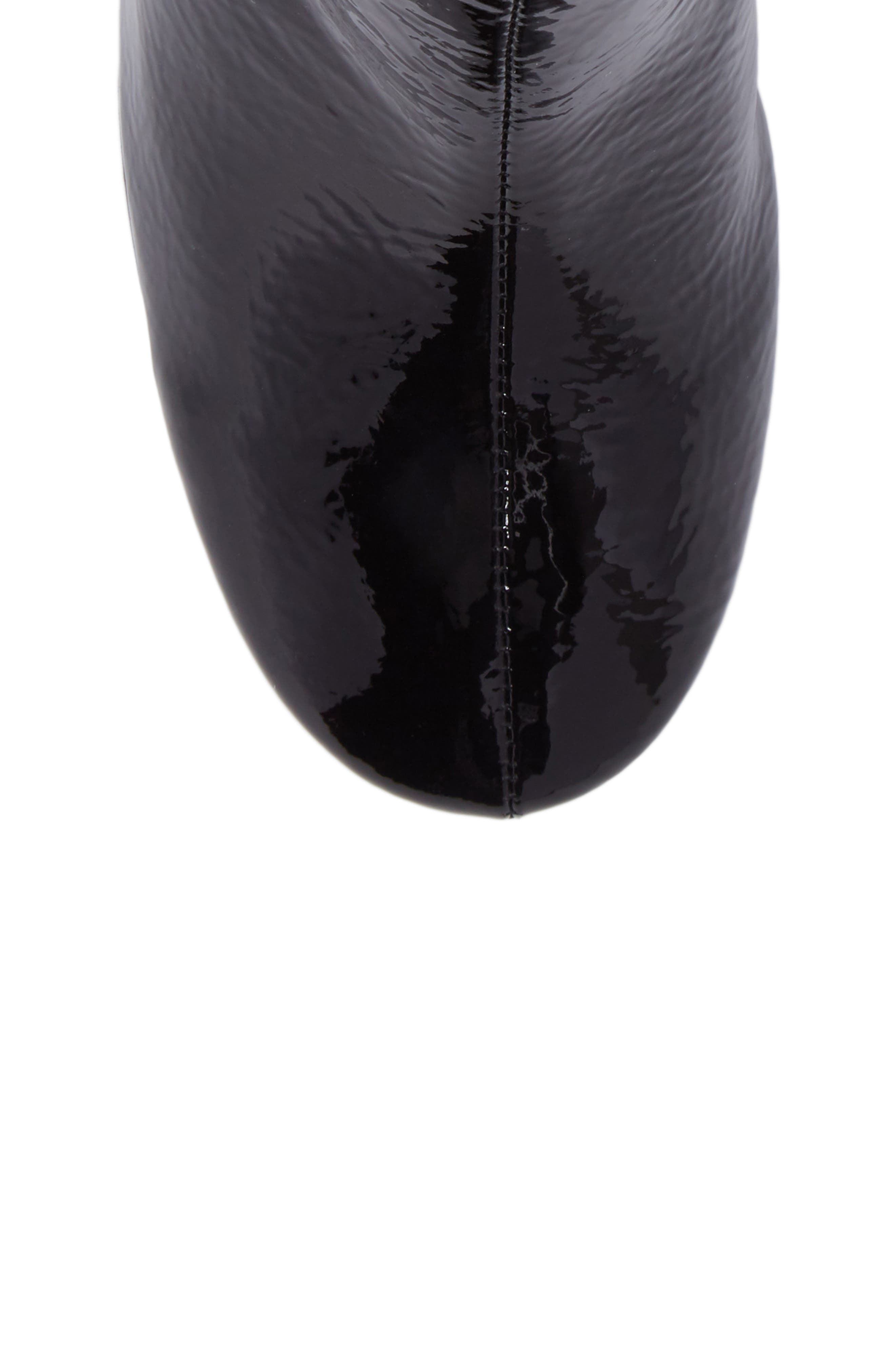 Chapel Curved Heel Bootie,                             Alternate thumbnail 5, color,                             Black Crinkle Patent
