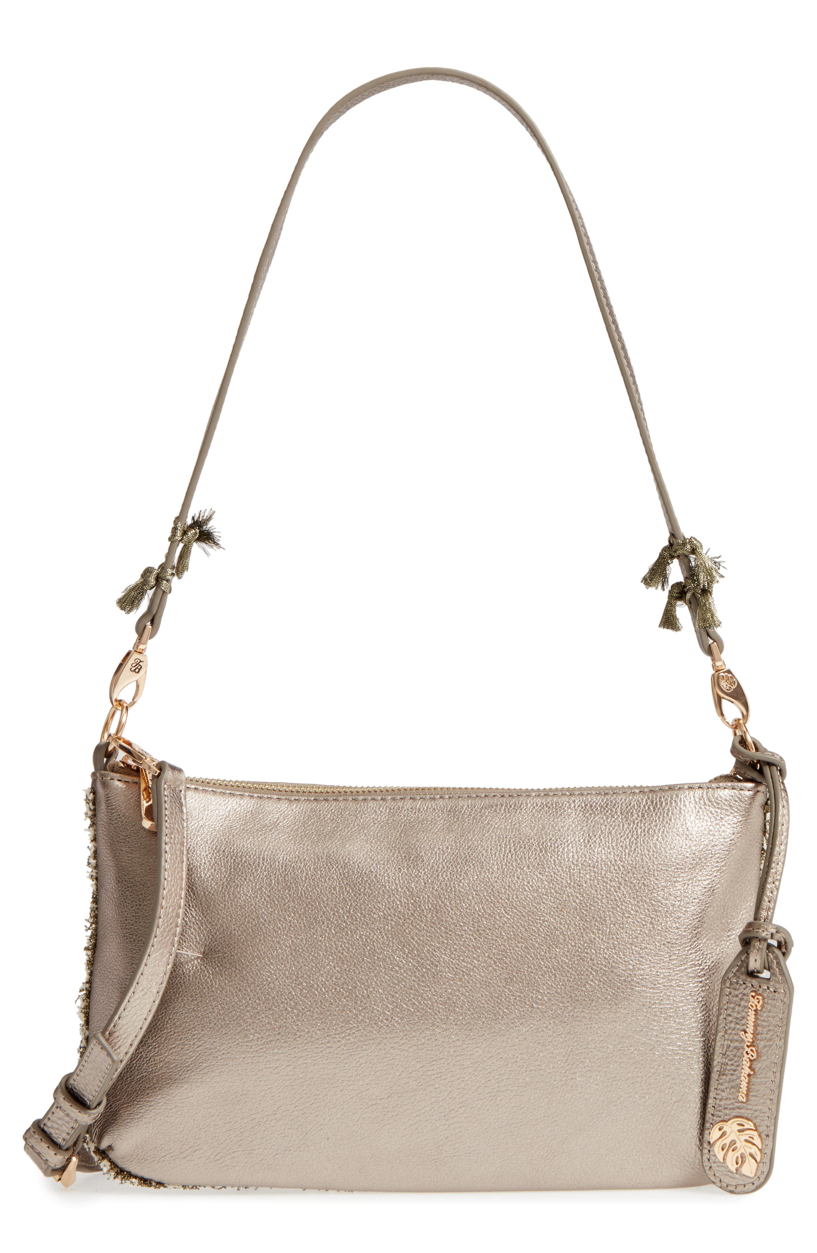 Can Can Convertible Leather Crossbody Bag,                         Main,                         color, Pewter/ Bronze