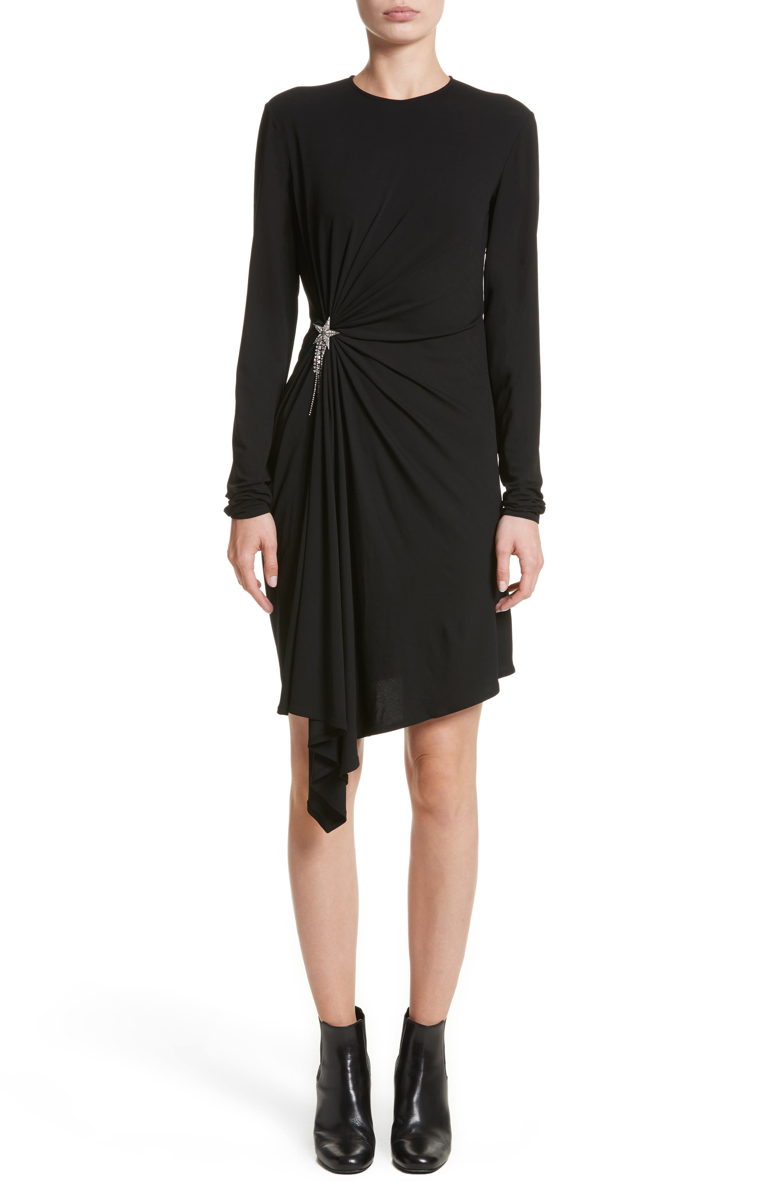 Ruched Side Drape Jersey Dress,                             Main thumbnail 1, color,                             Black