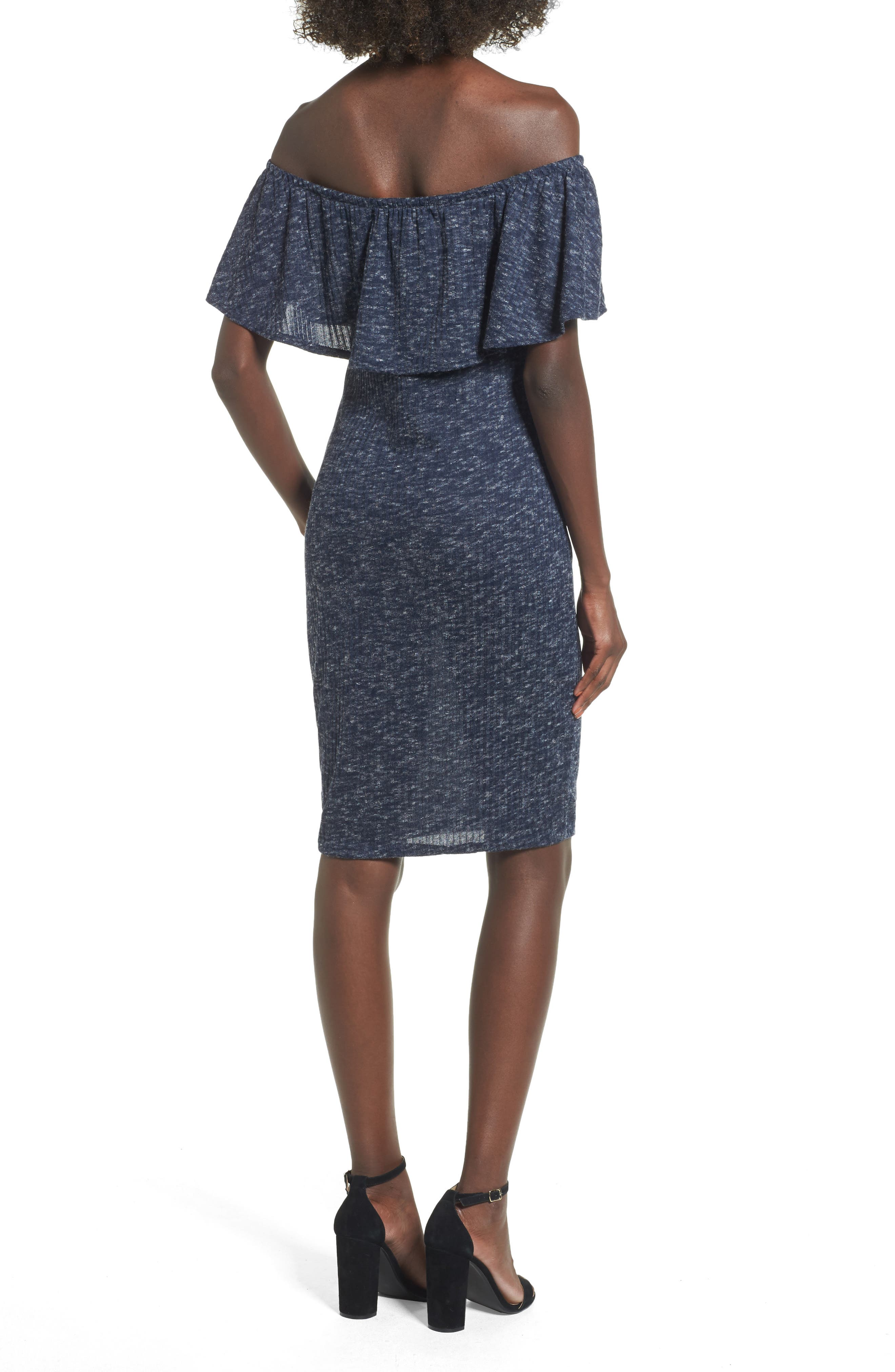 Alternate Image 2  - Mimi Chica Off the Shoulder Ruffle Knit Dress