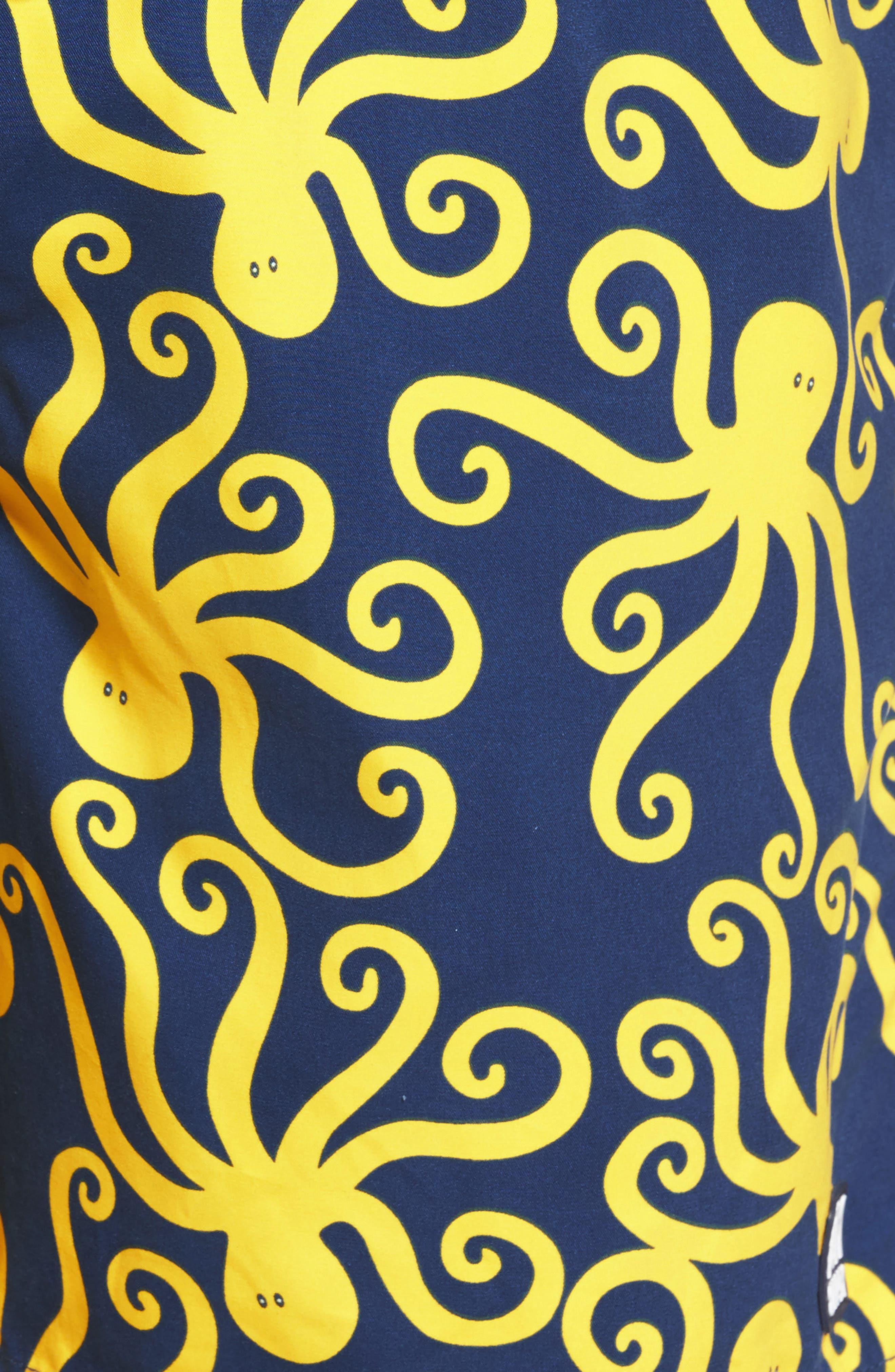 Octopus Swim Trunks,                             Alternate thumbnail 5, color,                             Blue Yellow