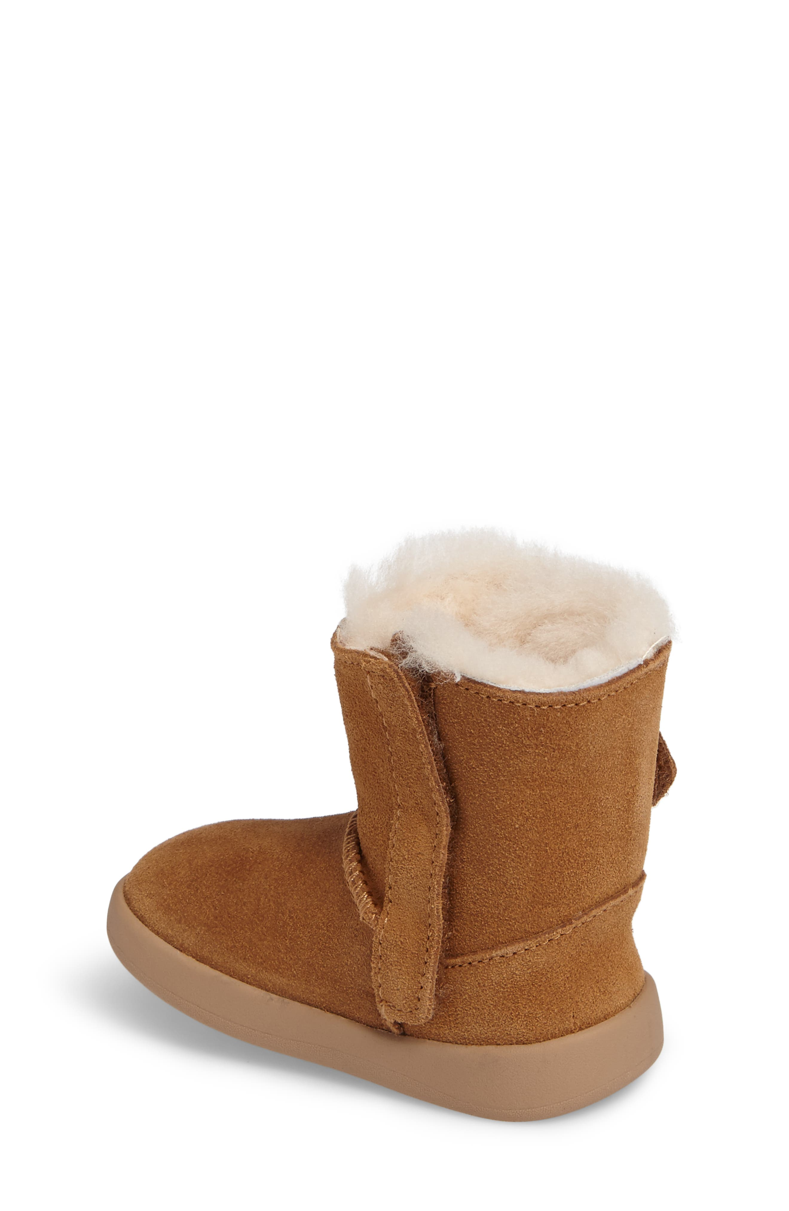 Keelan Genuine Shearling Baby Bootie,                             Alternate thumbnail 2, color,                             Chestnut Brown