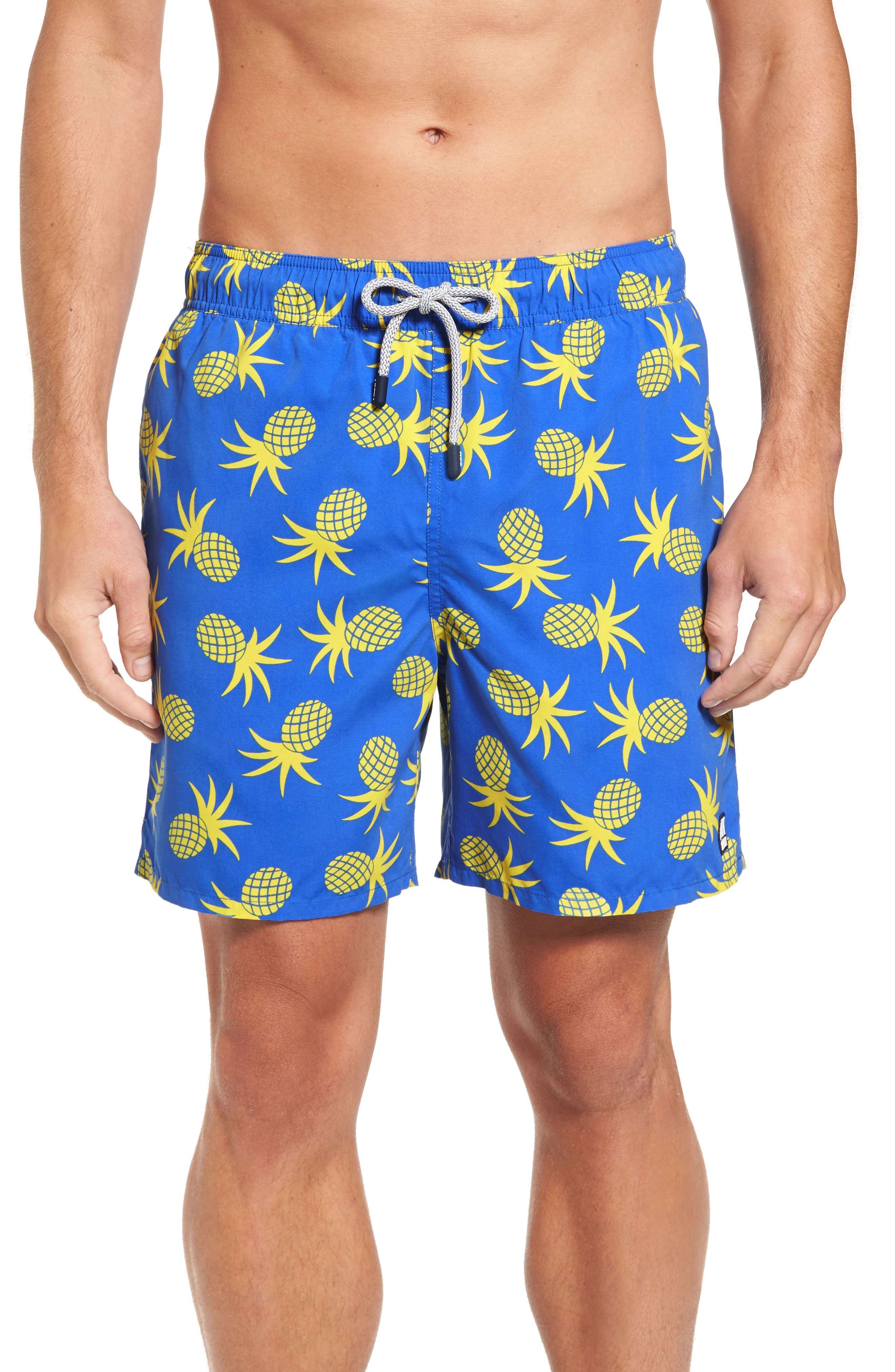 Pineapple Swim Trunks,                         Main,                         color, French Blue