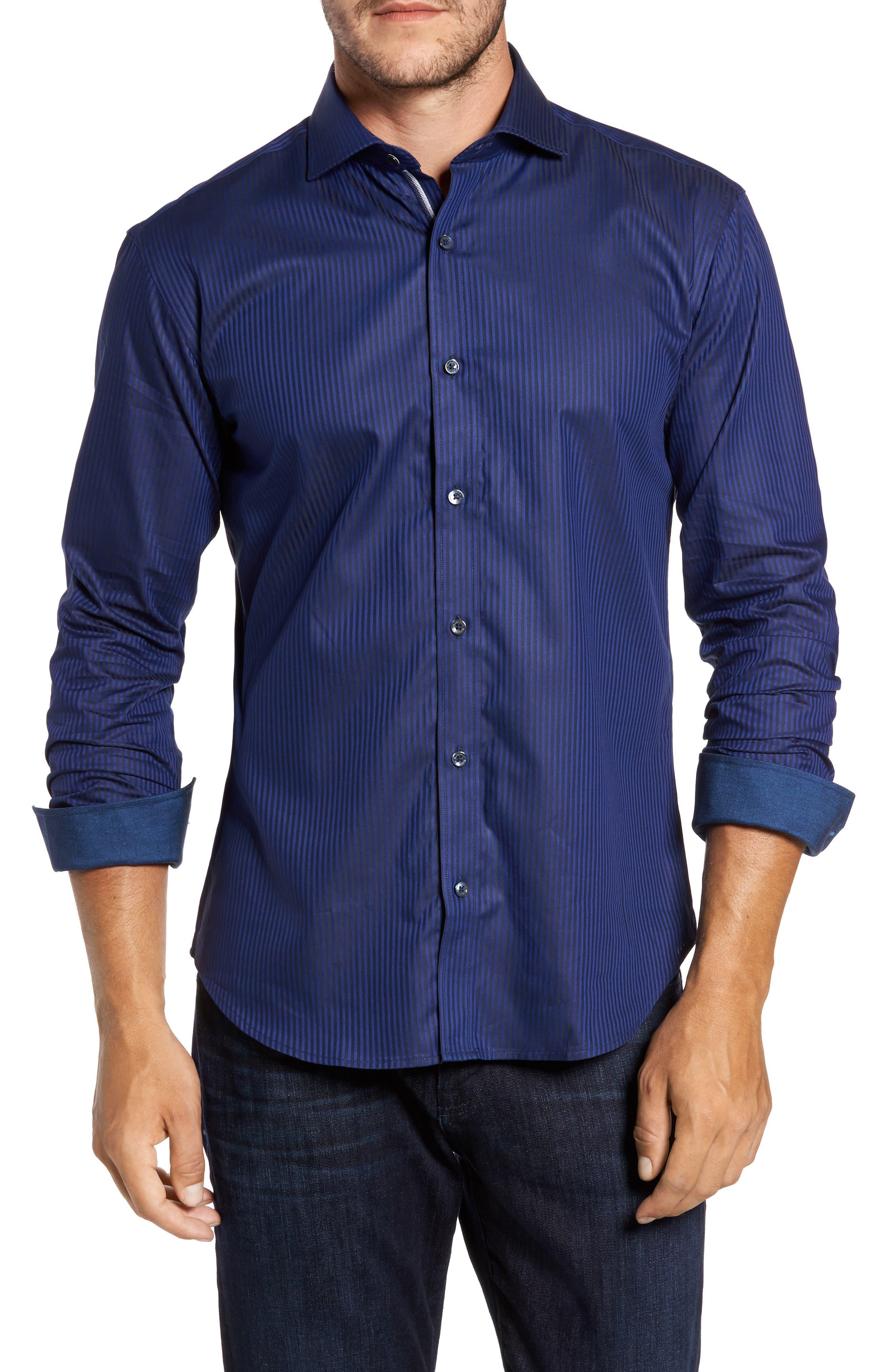 Trim Fit Pinstripe Sport Shirt,                         Main,                         color, Midnight