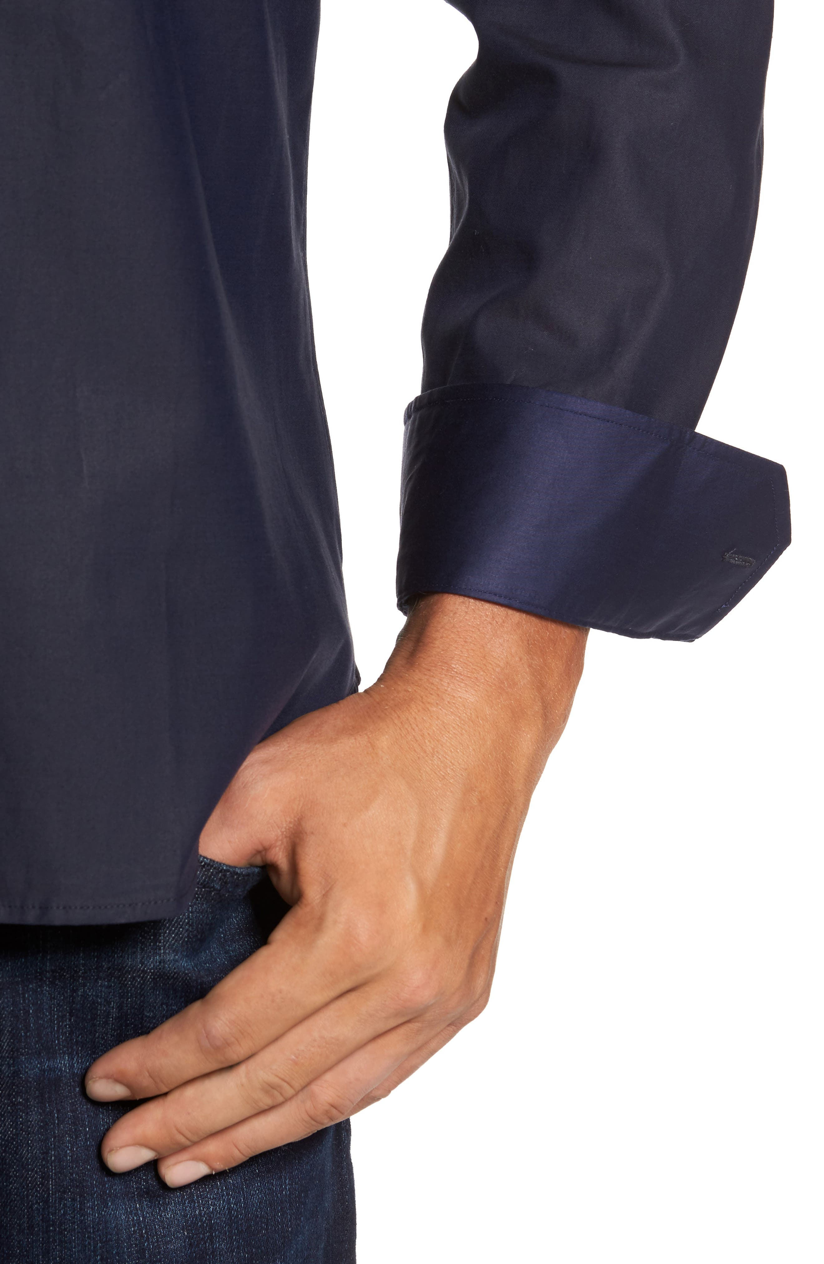 Trim Fit Solid Sport Shirt,                             Alternate thumbnail 4, color,                             Midnight