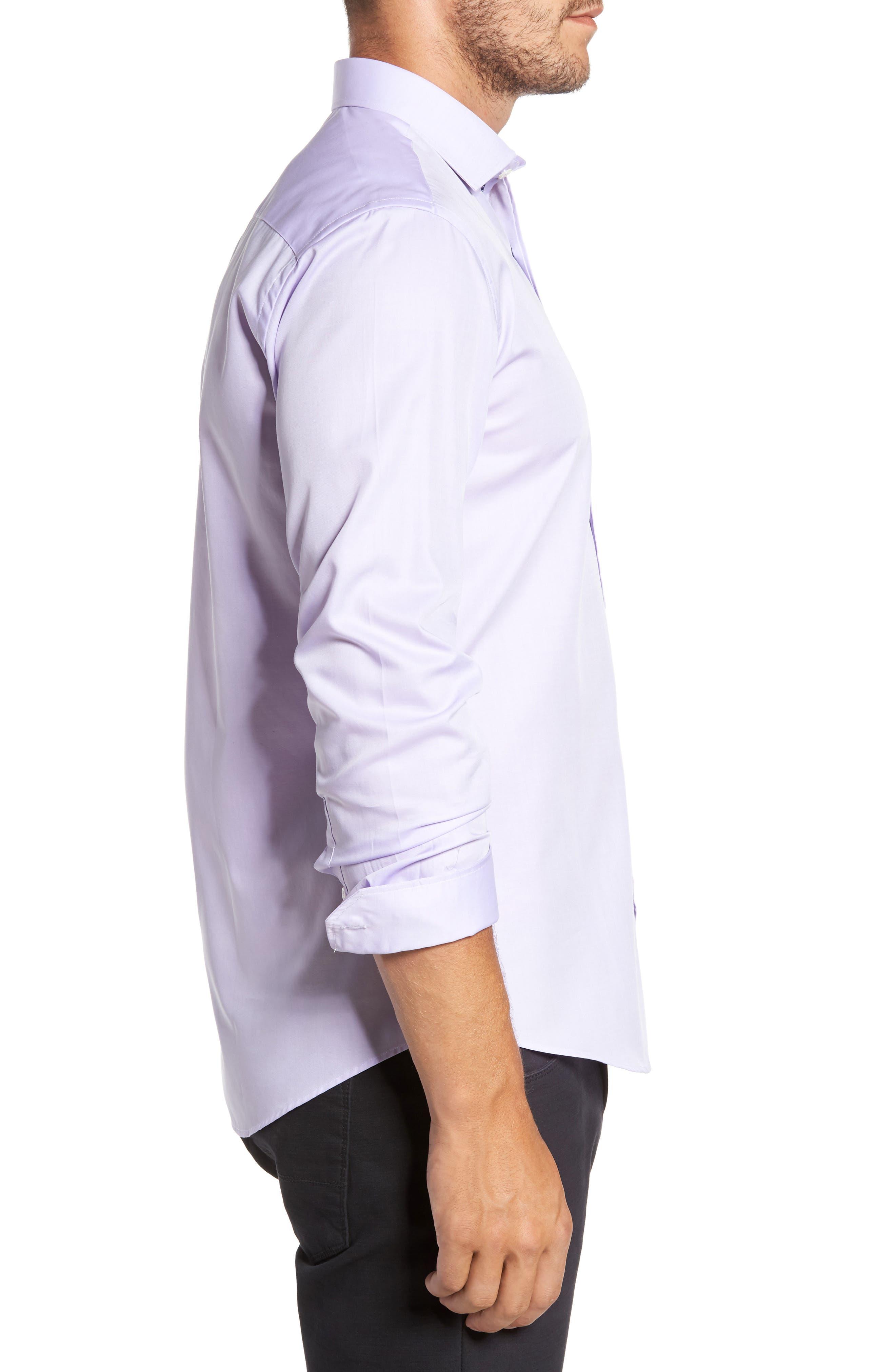 Trim Fit Solid Pastel Sport Shirt,                             Alternate thumbnail 3, color,                             Lavender