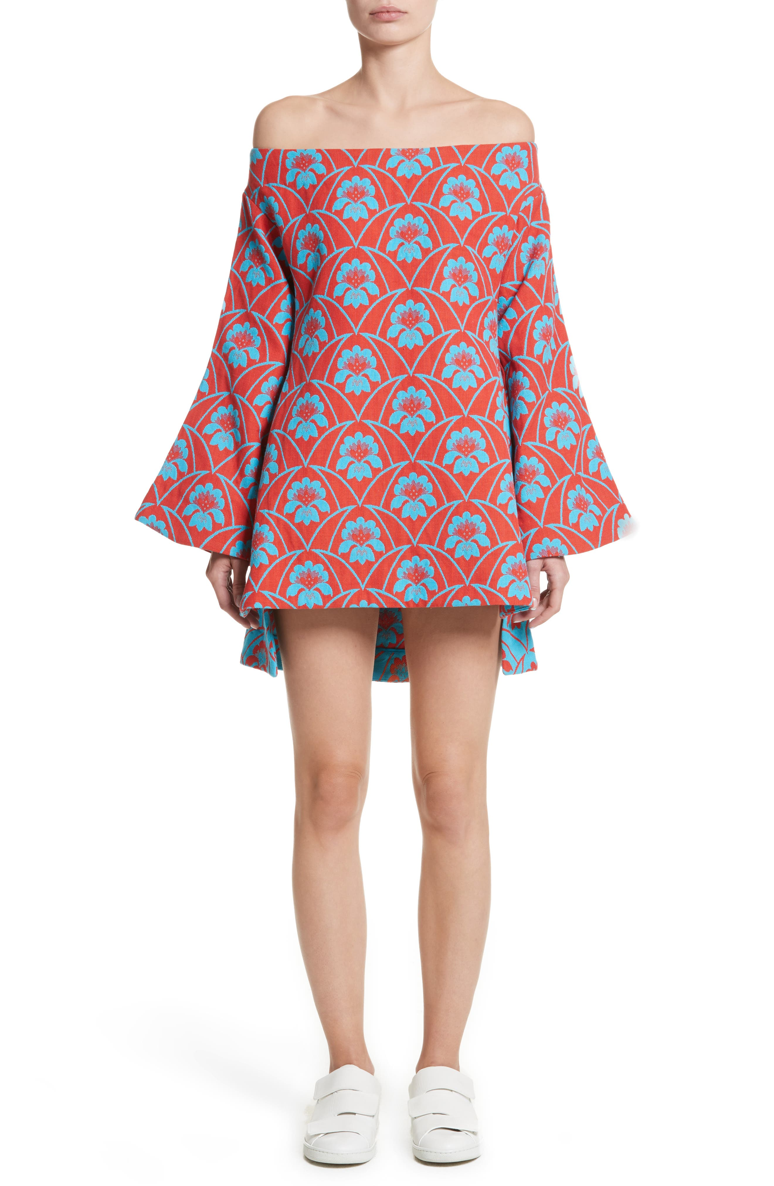 Off the Shoulder Minidress,                         Main,                         color, Red Acid Blue