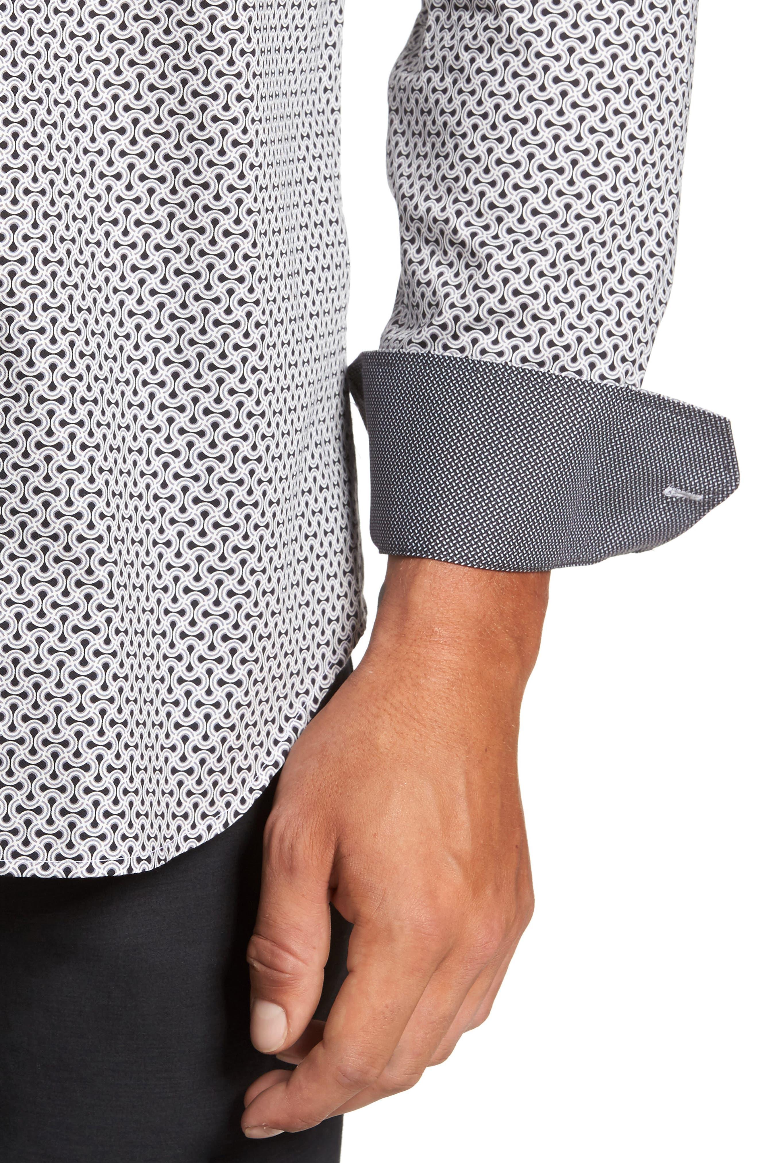 Classic Fit Print Sport Shirt,                             Alternate thumbnail 4, color,                             Black